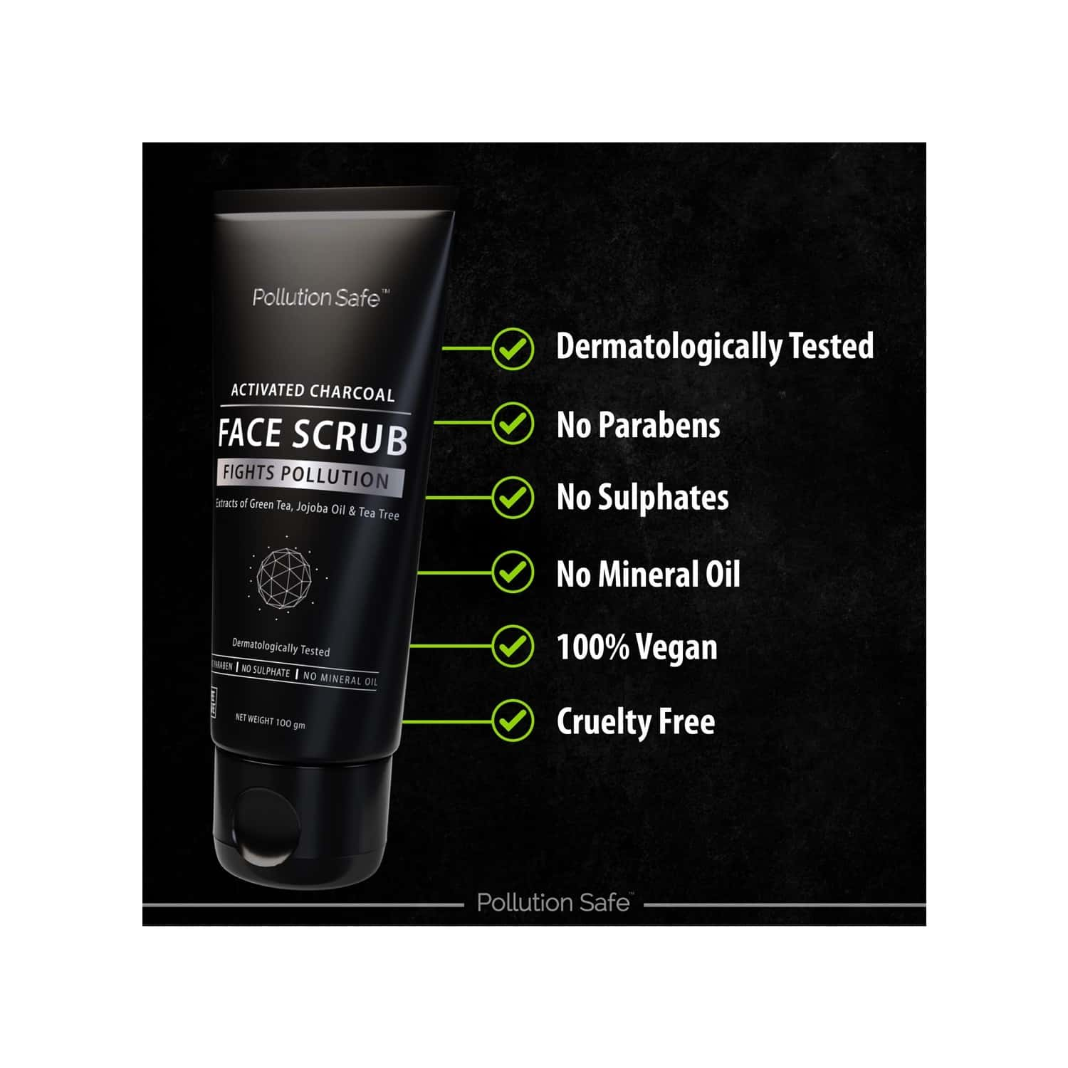 Pollution Safe Activated Charcoal Face Scrub 100gm
