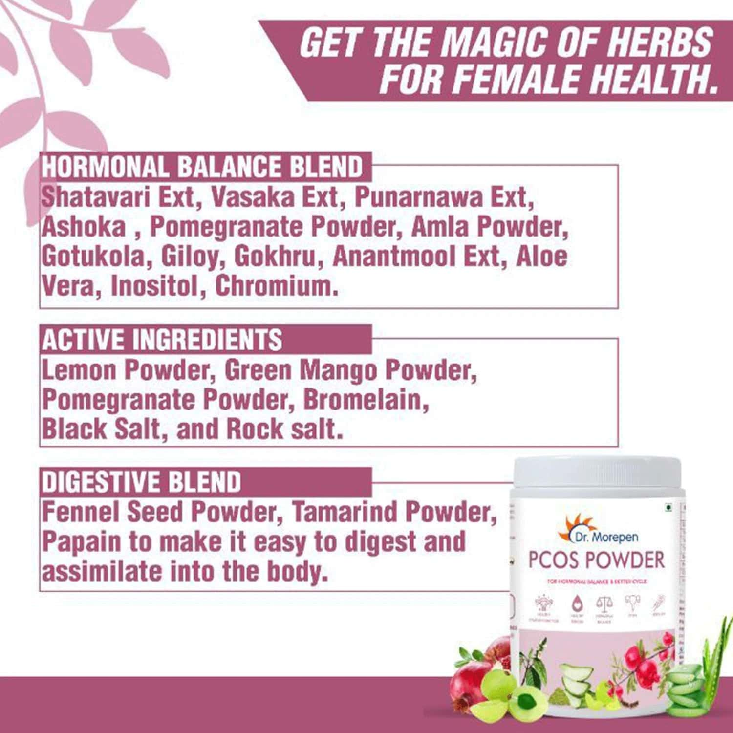 Dr Morepen Pcos Powder For Hormonal Balance & Better Cycle Supplement For Women - 250g