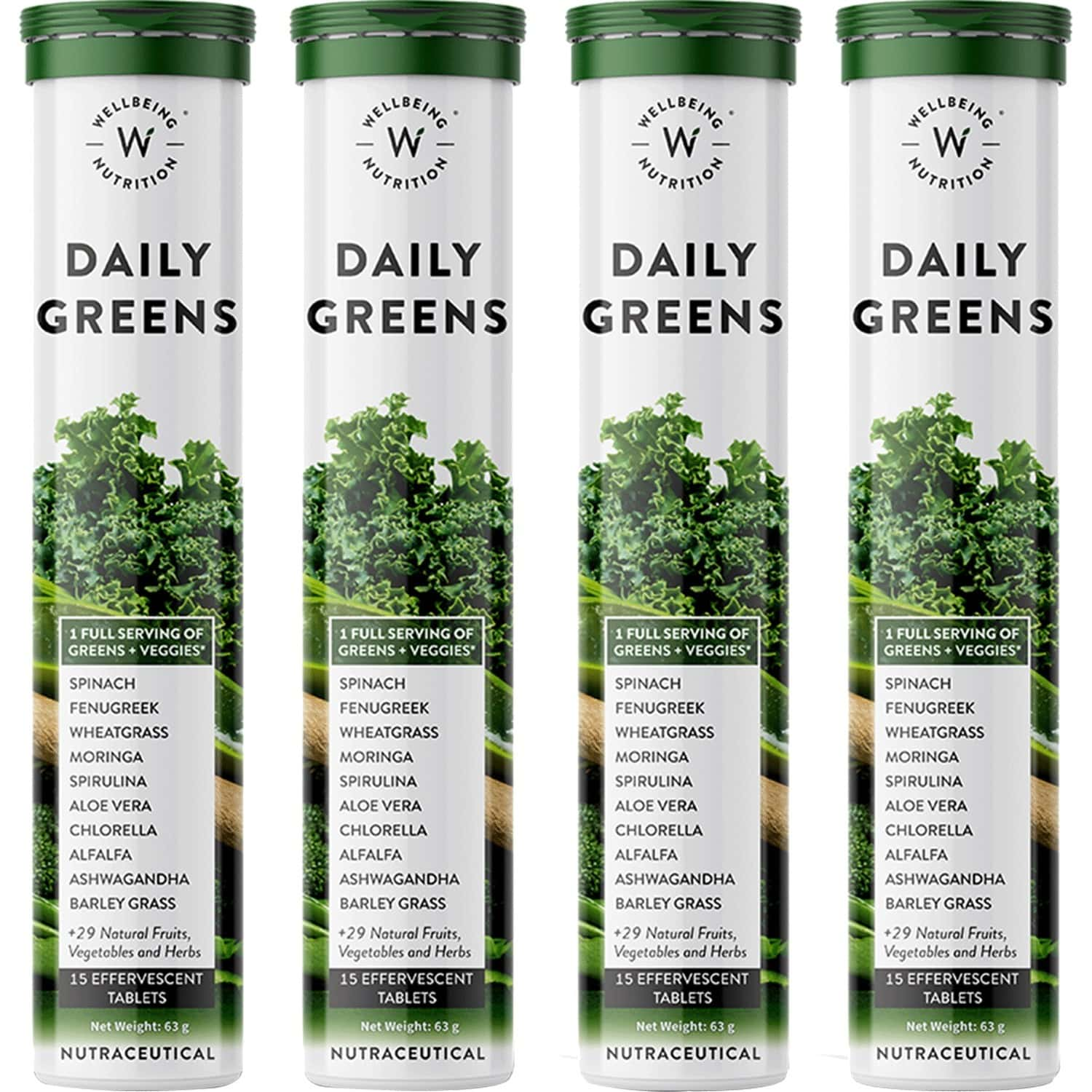 Wellbeing Nutrition Daily Greens, Organic Wholefood Multivitamin Pack Of 4 X 15 Tablets