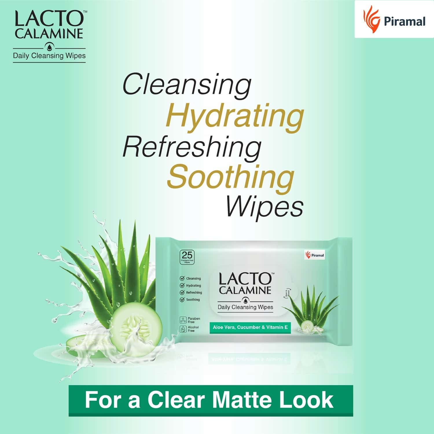 Lacto Calamine Daily Cleansing Face Wipes With Aloe Vera Cucumber And Vitamin E - 25 Wipes