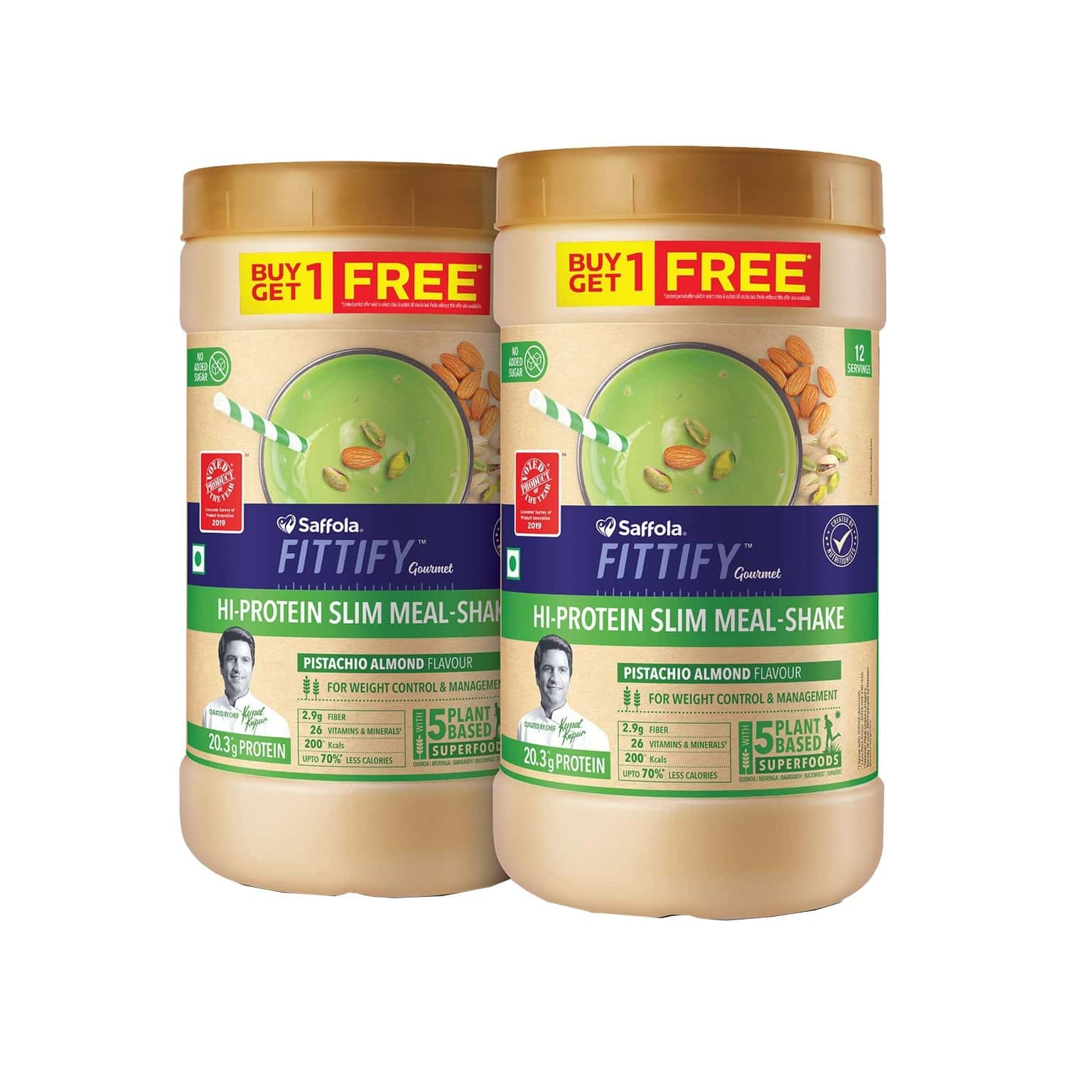 Saffola Fittify Hi-protein Slim Meal Shake, Pistachio Almond, Buy 1 Get 1, Each Pack 420 Gm