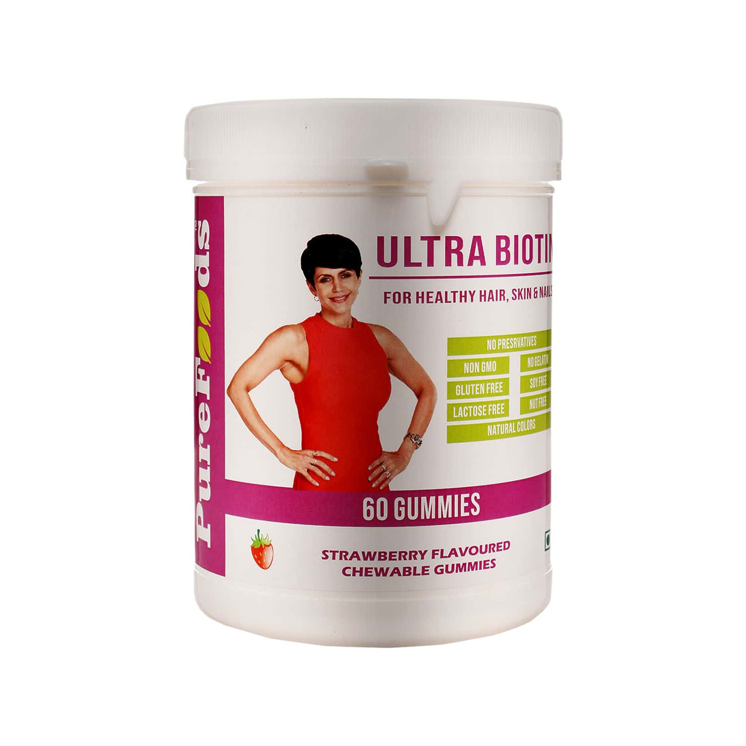 Purefoods Ultra Biotin Gummies For Healthy Hair, Skin And Nails - (60 Gummies Strawberry Flavoured)