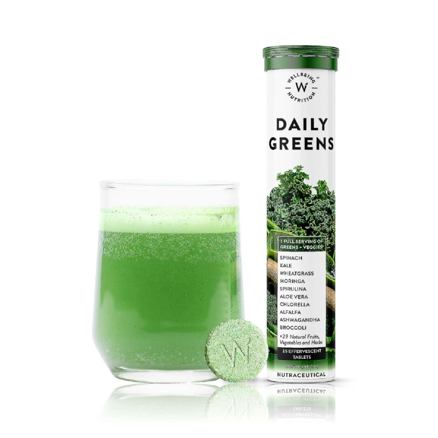 Wellbeing Nutrition Daily Greens Organic Wholefood Multivitamin For Immunity & Detox - 15 Effervescent Tablets