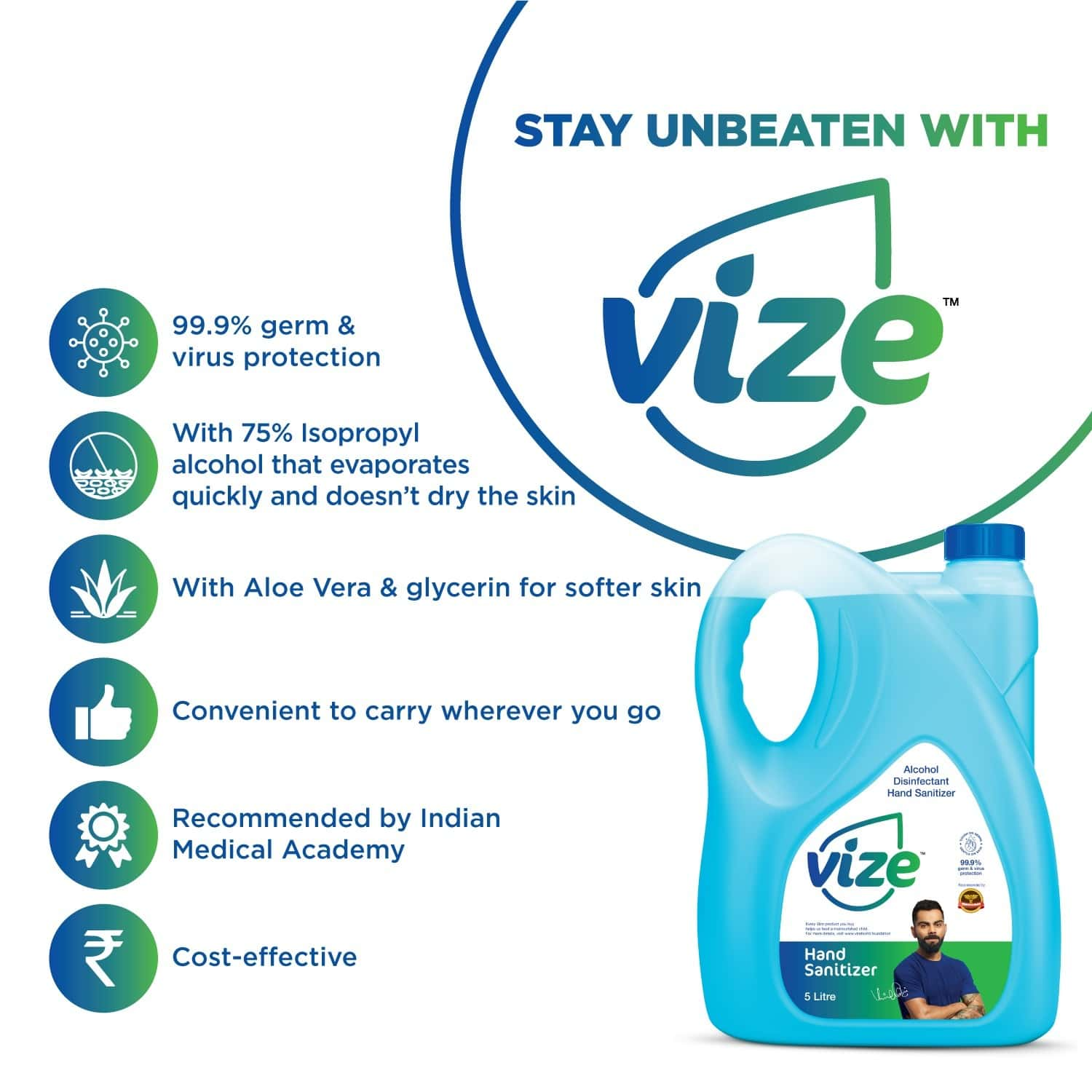 Vize Hand Sanitizer With 75% Isopropyl Alcohol Ip - 5 Litre Can
