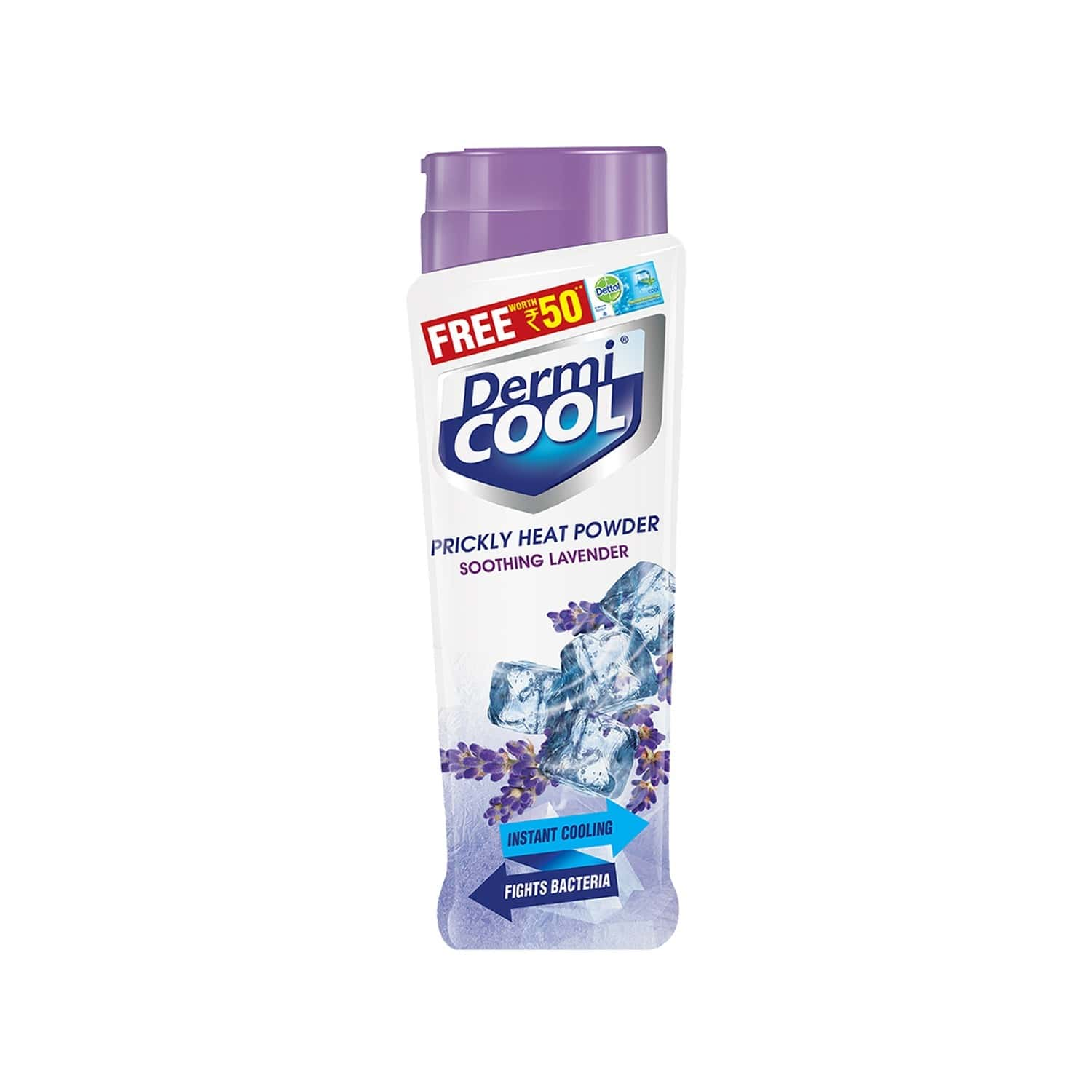 Dermicool Prickly Heat Powder - Lavender - 150g ( With Dettol Cool Soap 125g )