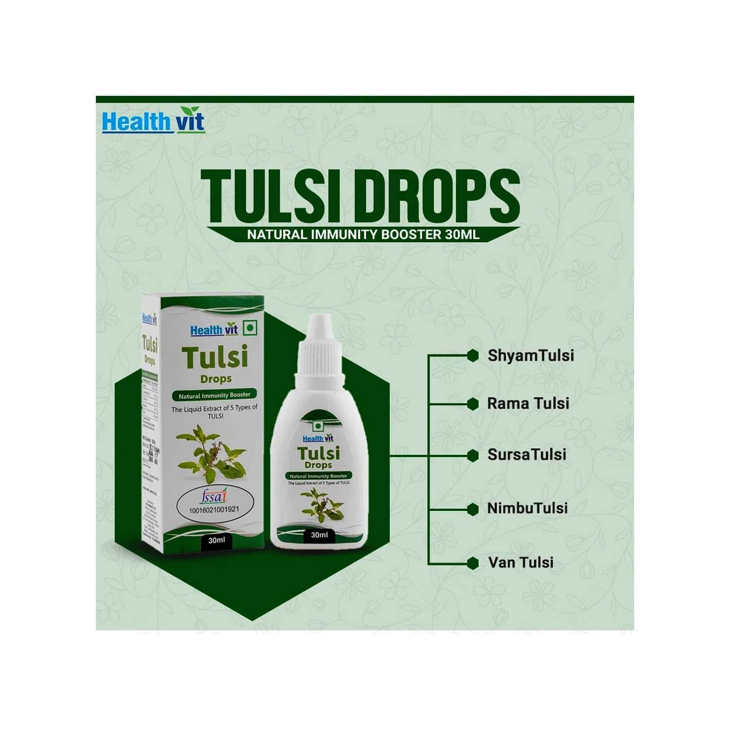 Healthvit Tulsi Drops- Concentrated Extract Of 5 Rare Tulsi For Natural Immunity Boosting & Cough And Cold Relief - 30ml