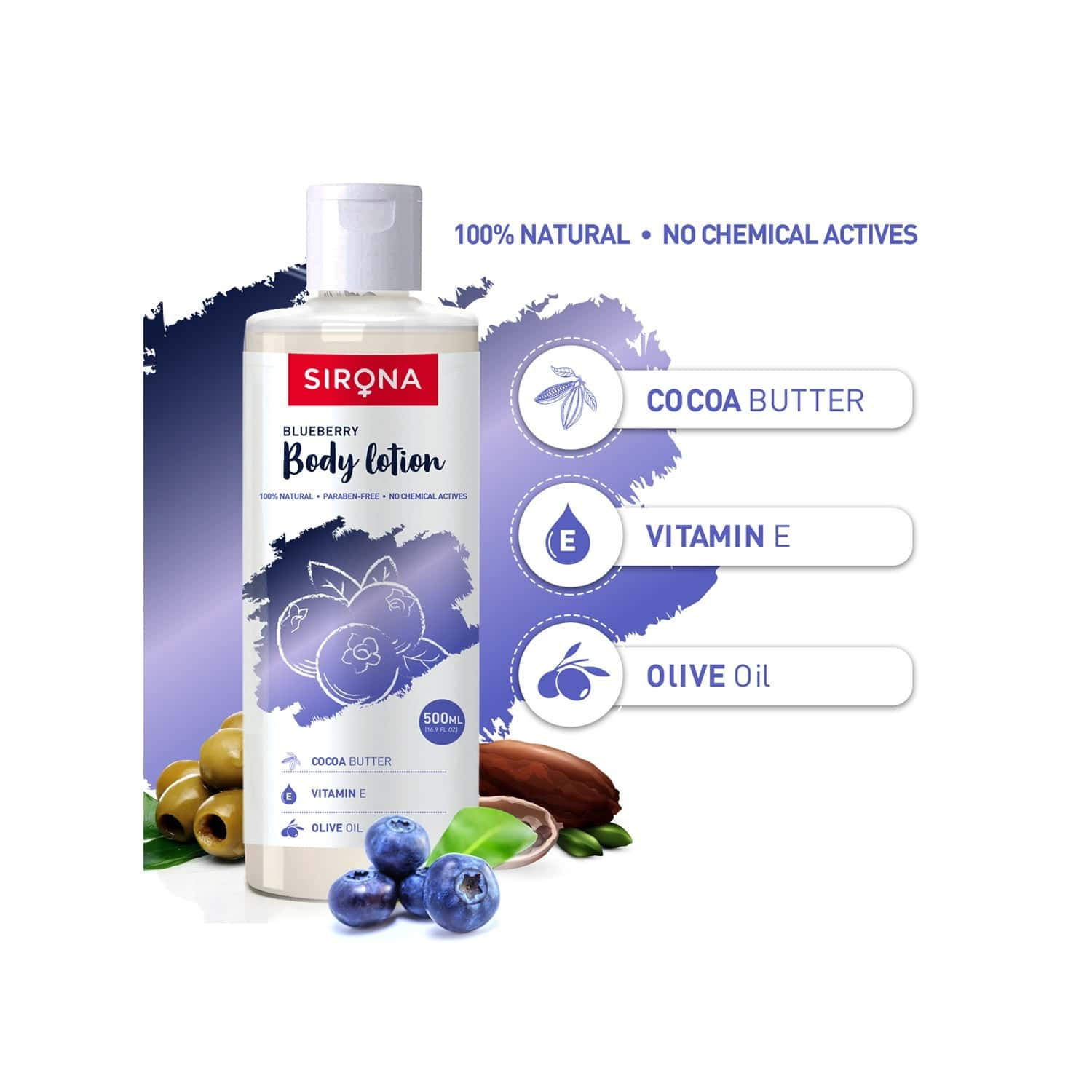 Sirona Natural Blueberry Body Lotion With Cocoa Butter - Vitamin E And Olive Oil - 500ml