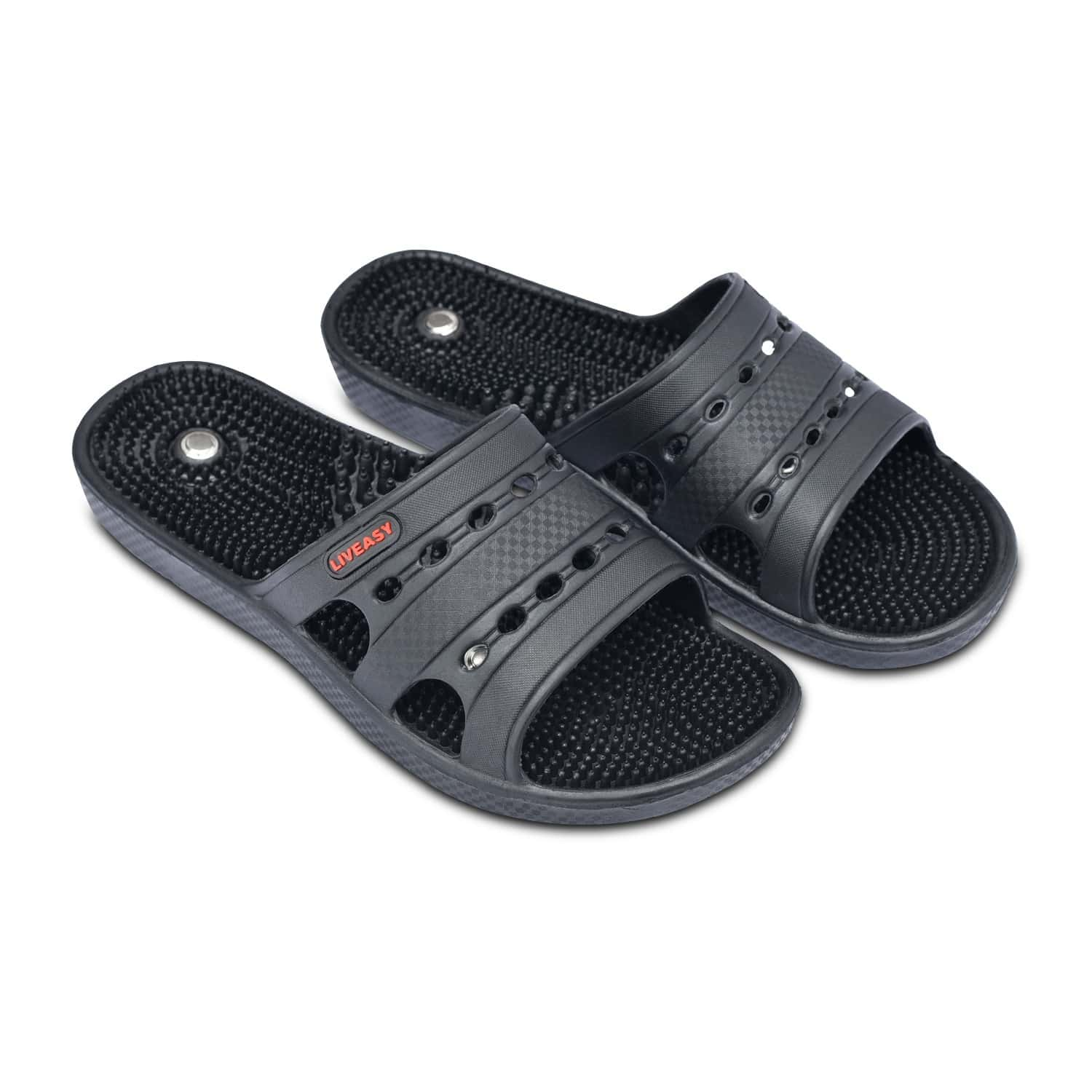Liveasy Ortho Care Acupressure Slippers - Women (black) Size 6