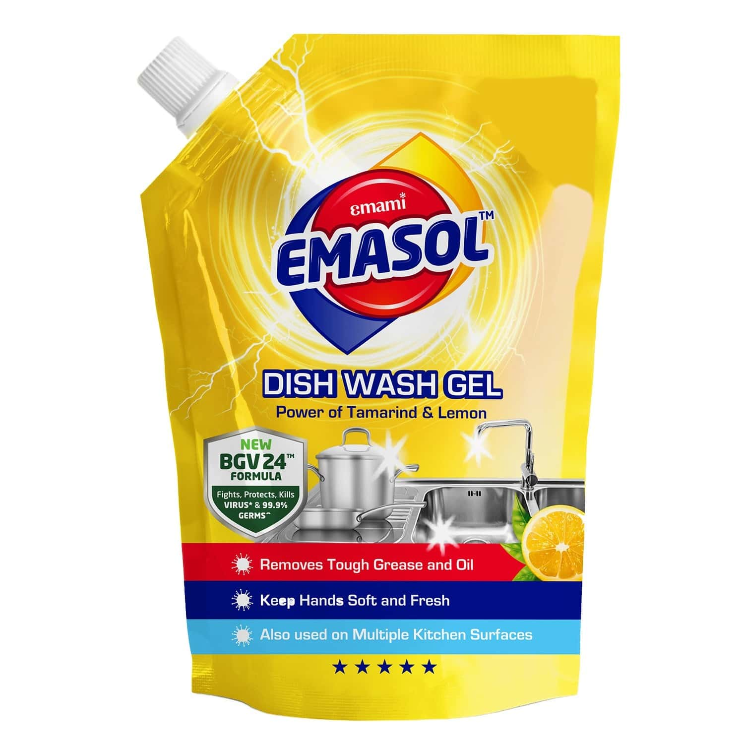 Emami Emasol Dish Wash Gel- Lemon - 900 Ml