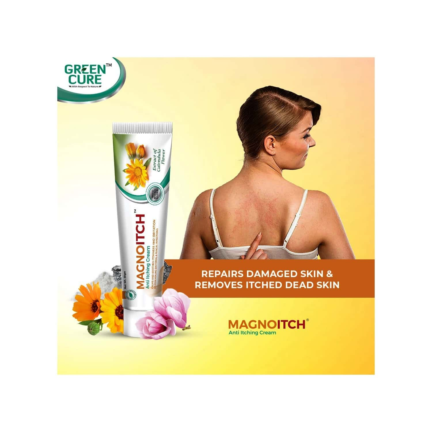 Green Cure Magnoitch Herbal Anti Itching Cream With Microsilver And Calendula - 50gm
