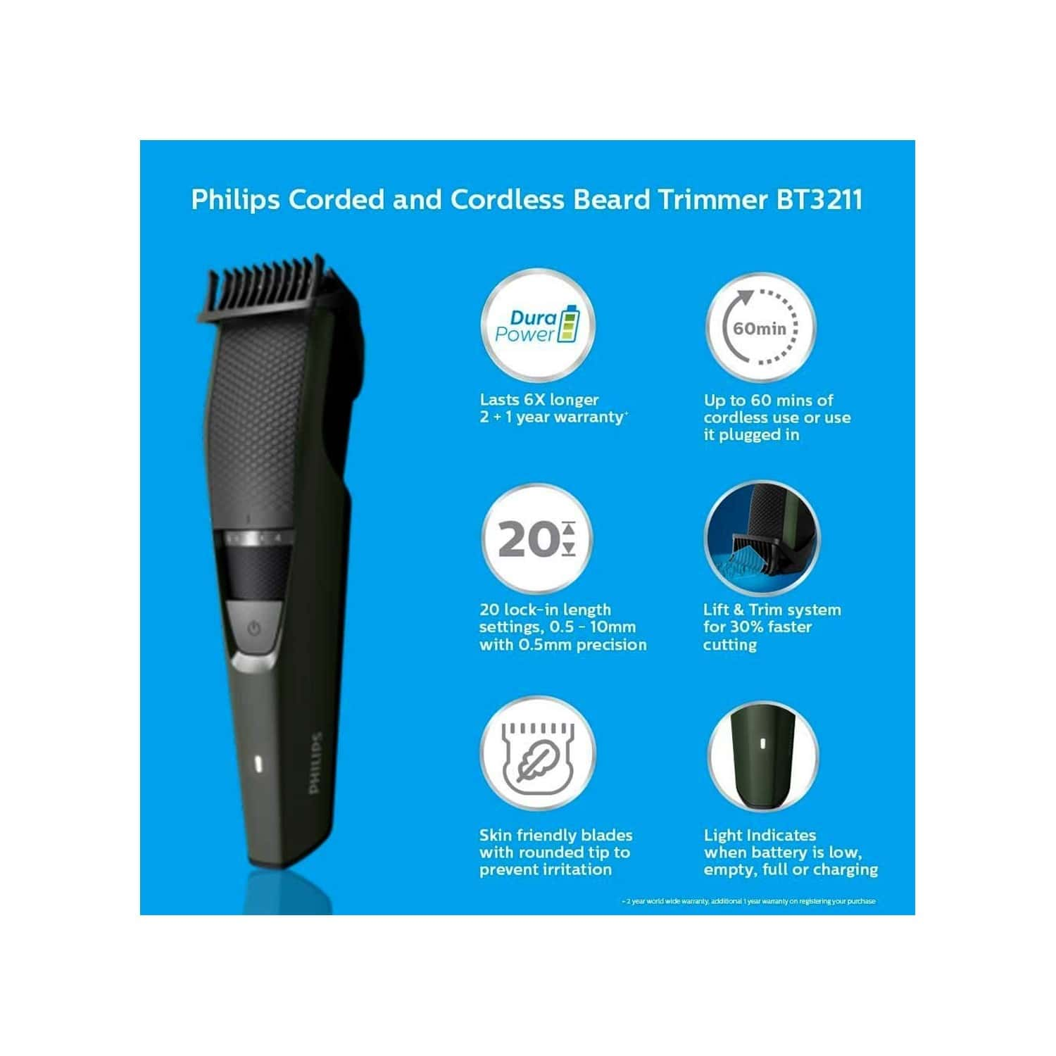 Philips Bt3211/15 Corded & Cordless Rechargeable Beard Trimmer (20 Length Settings, 60 Min Run Time)