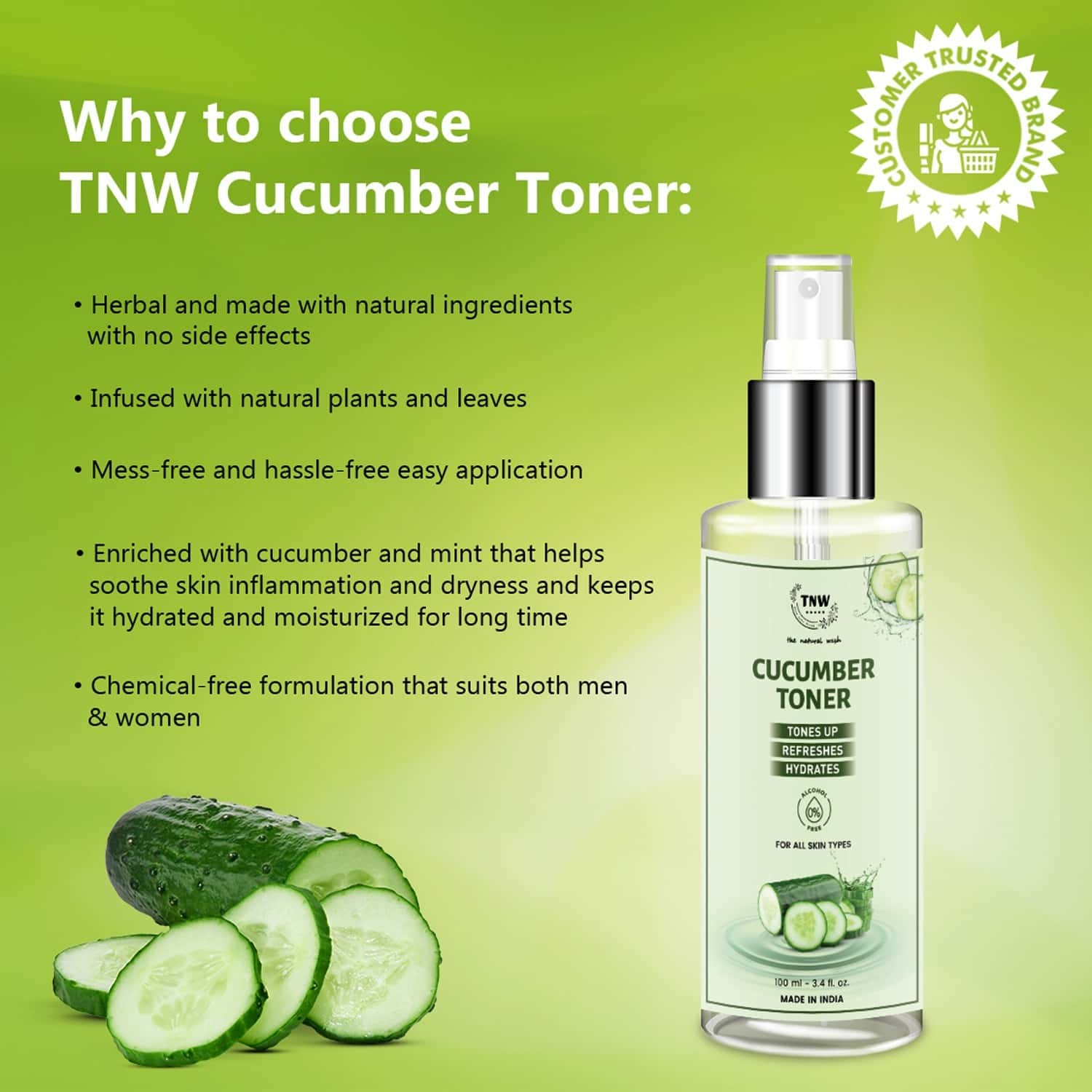 Tnw -the Natural Wash Cucumber Toner For Cleansing & Refreshing Skin Alcohol Free For All Skin Types - 100 Ml
