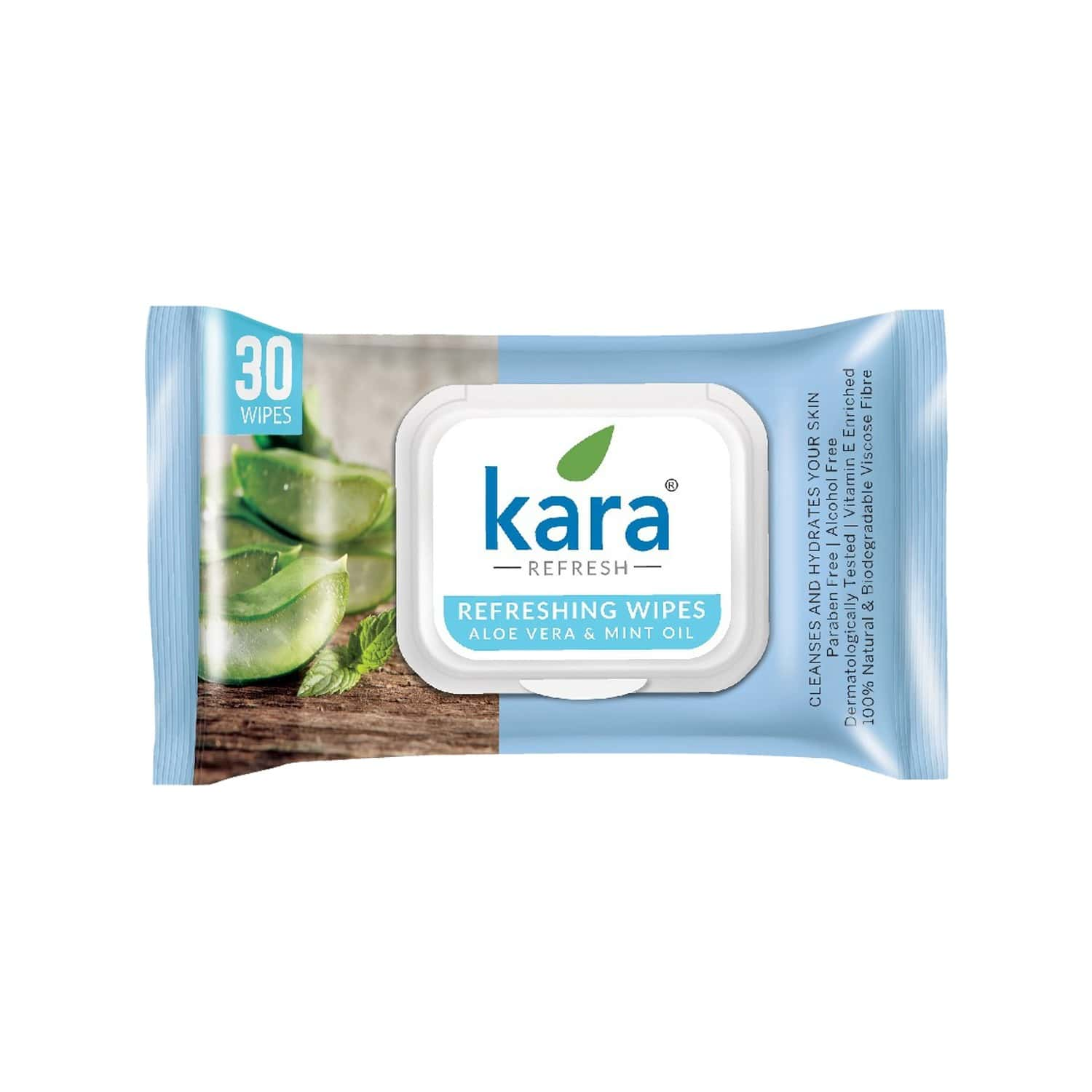 Kara Cleansing And Refreshing Aloe Vera And Mint Oil Face Wipes  Packet Of 30