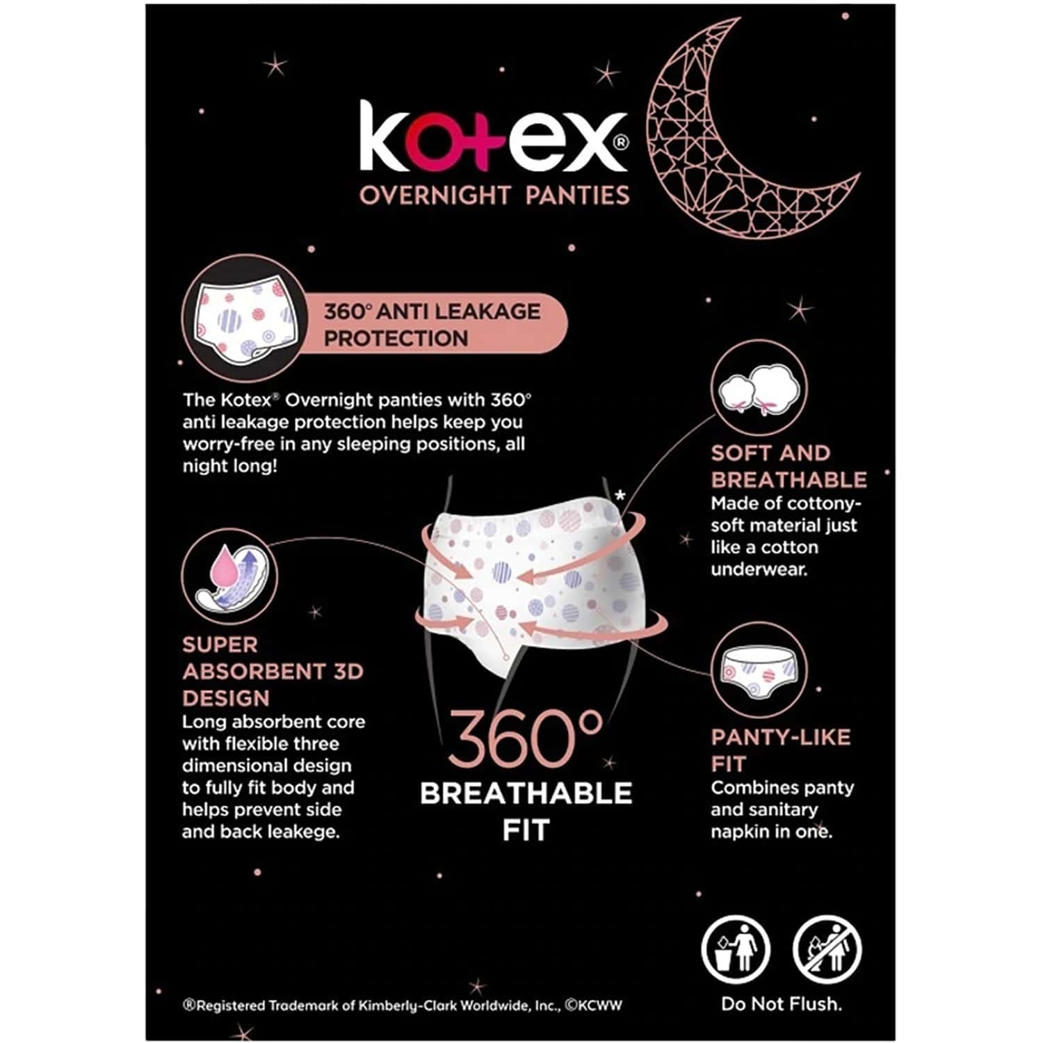 Kotex Overnight Panties -periodwear For Sanitary Protection - S/m (4 Count)