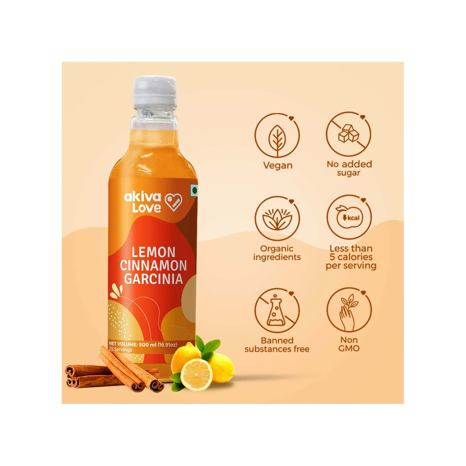 Akiva Love Lemon Cinnamon Garcinia Juice ( Concentrated ) For Weight Loss - 500ml