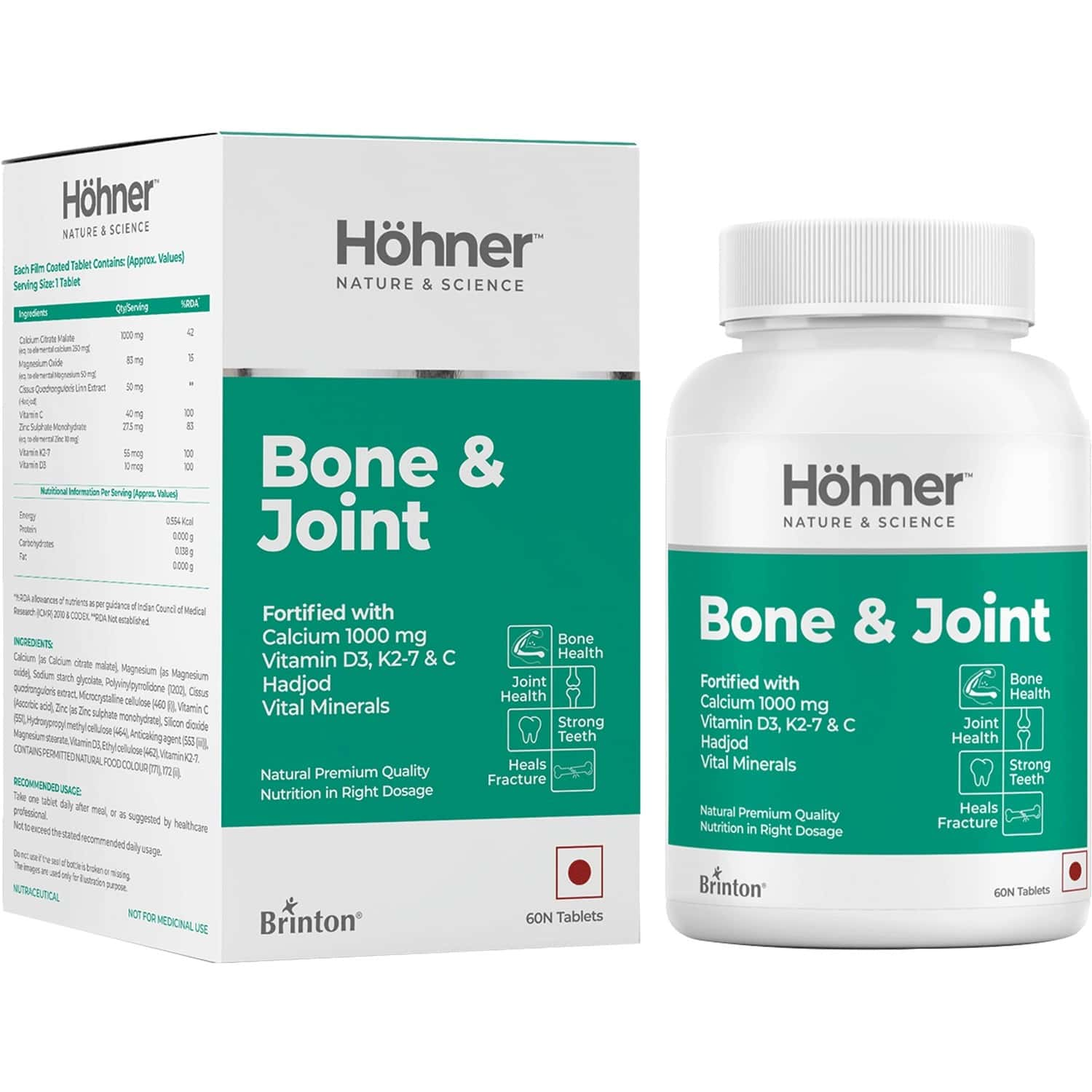Hohner Bone & Joint With Calcium 1000 Mg, Vitamin D3-k27, Hadjod And Minerals,once A Day- 60 Tablet