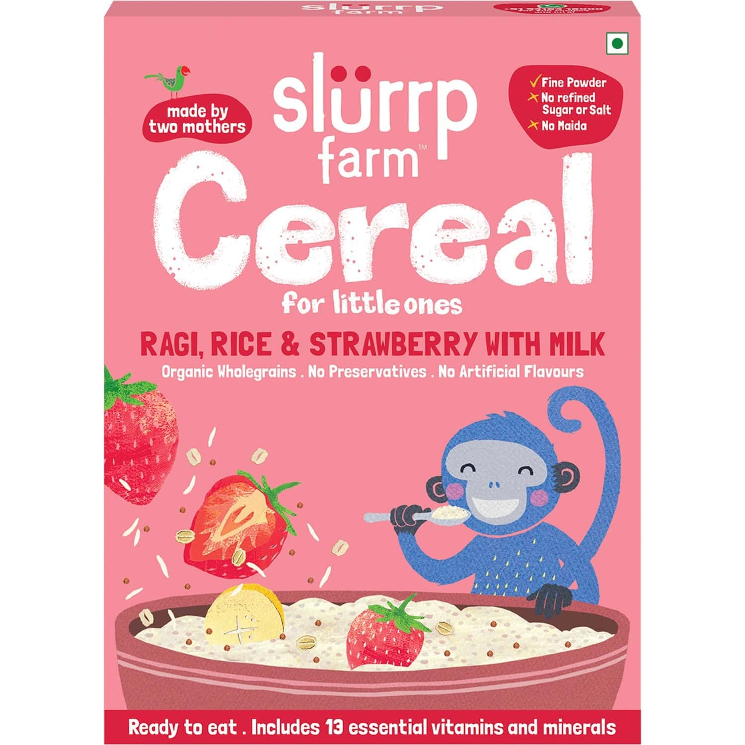 Slurrp Farm Cereal For Little Ones Ragi, Rice & Strawberry With Milk - 200g