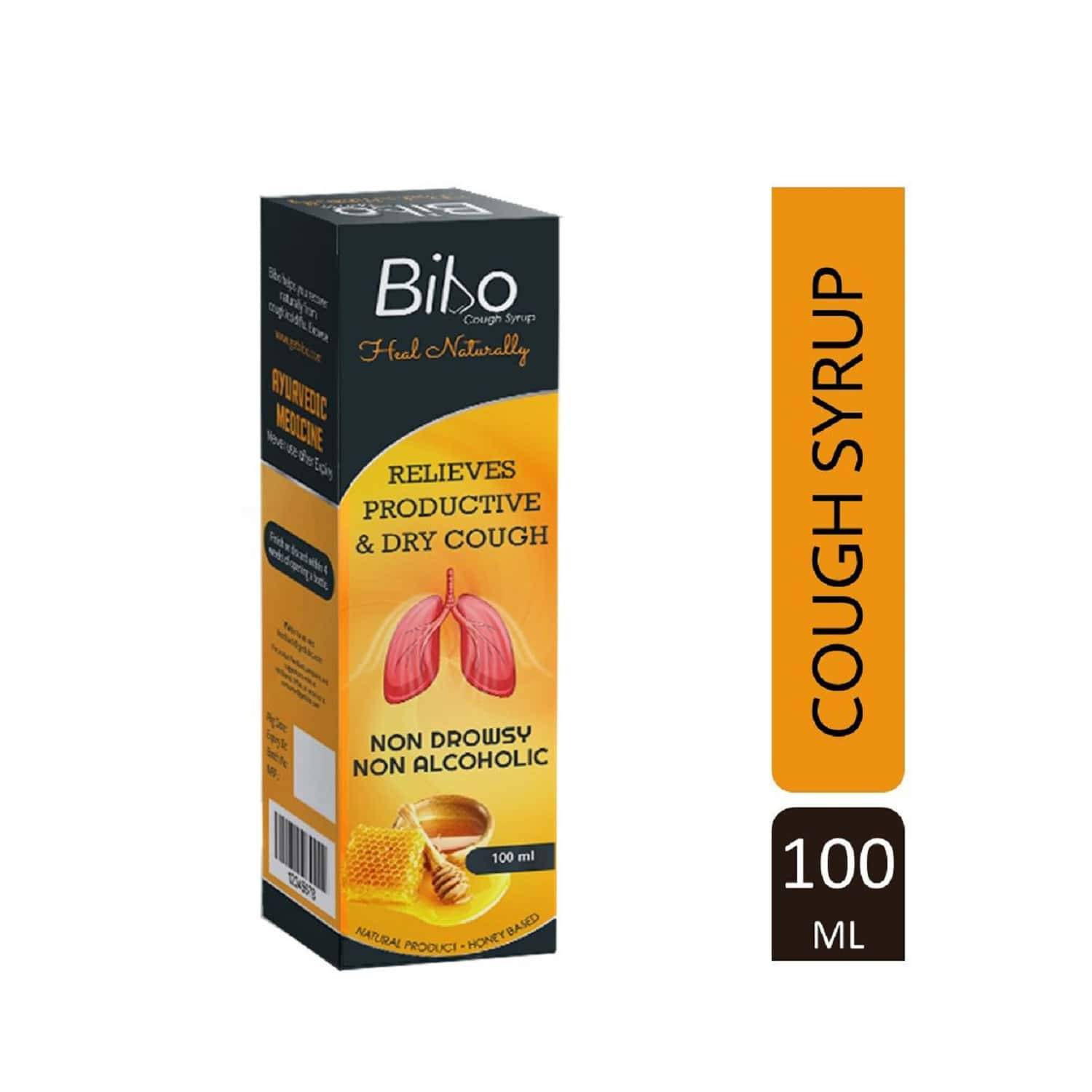 Bibo Cough Syrup - Natural Product - Zero Side Effects - Premium Ayurveda - Immunity Protector - 20+ Herbs And Honey - 100ml Bottle