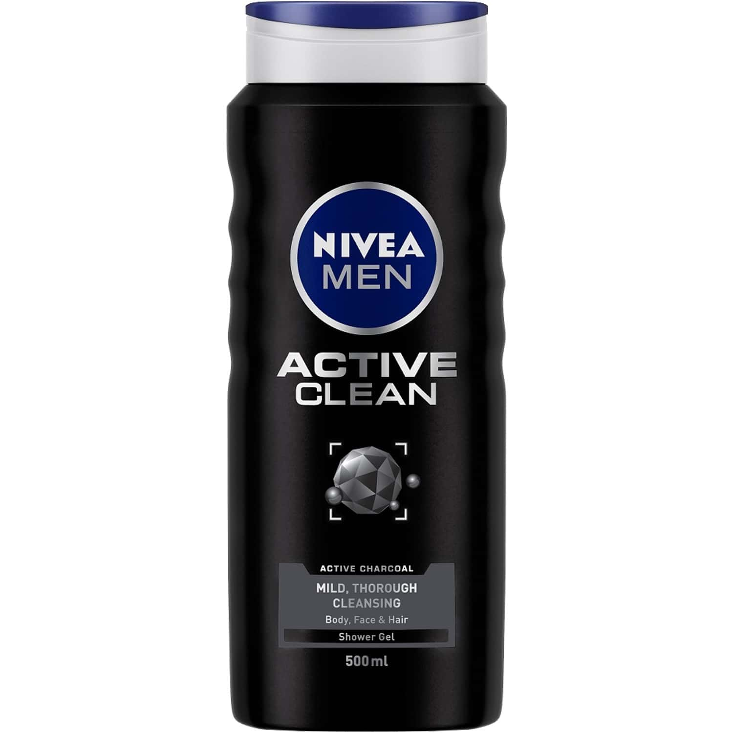 Nivea Active Clean Shower & Body Wash For Hair, Face & Body - 500 Ml