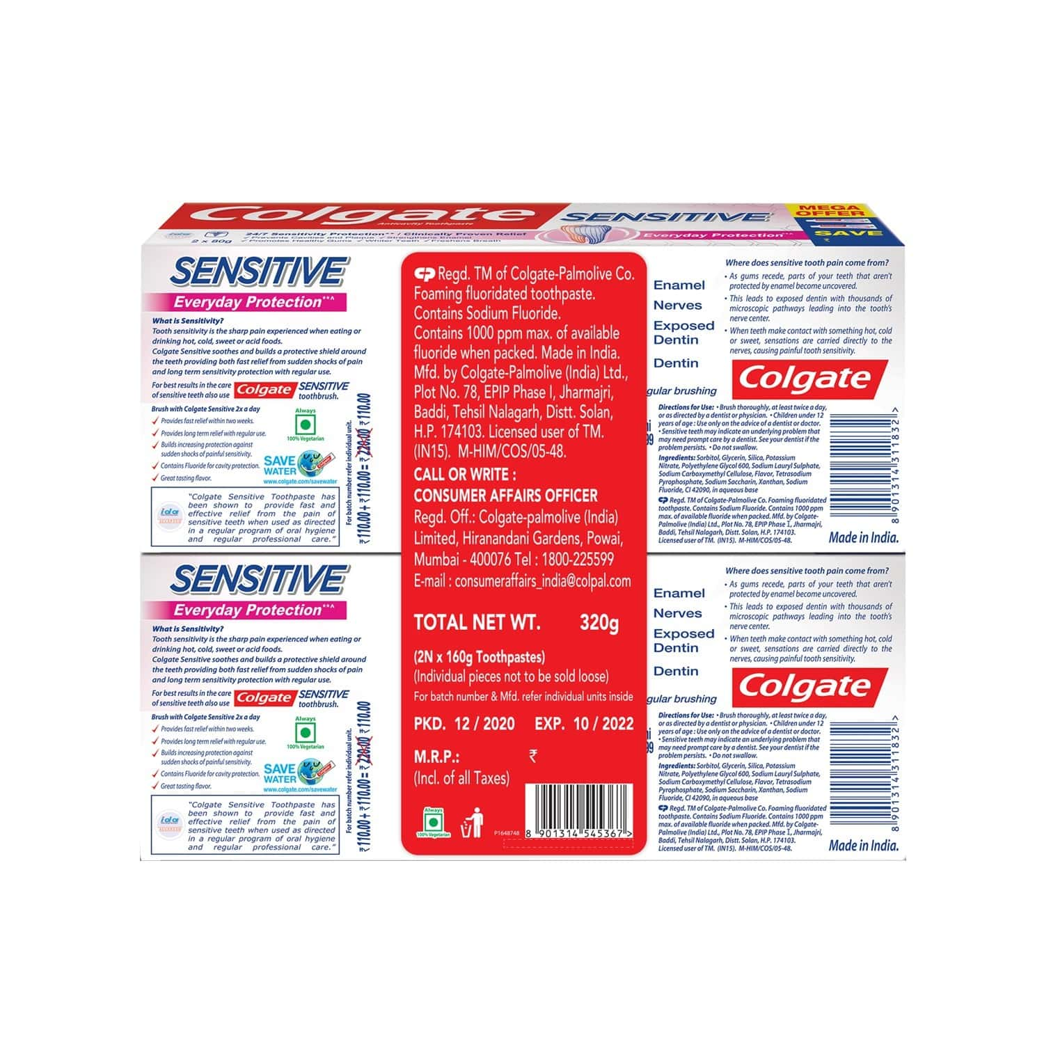 Colgate Sensitive Everyday Protection Toothpaste For Sensitivity Relief - 160 Gm (pack Of 2)