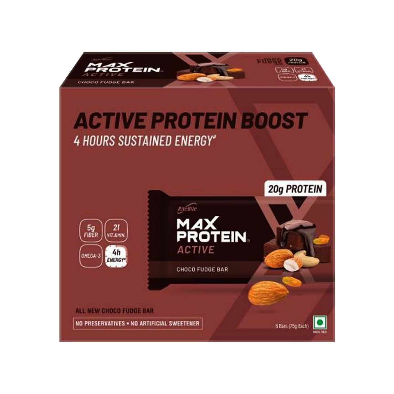 Ritebite Max Protein Active Choco Fudge Nutrition Bar (75gm X 6) Box Of 450 G