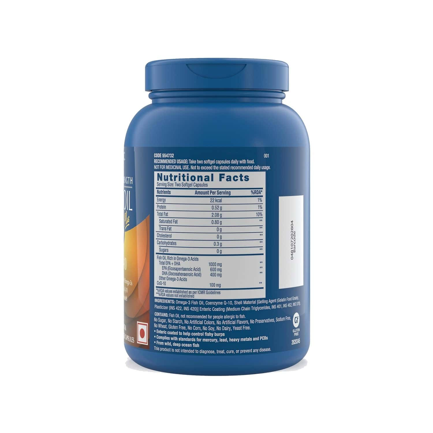 Gnc Triple Strength Fish Oil Plus 1000 + Coq10 - With 1000mg Of Highly Absorbable Epa/dha Omega-3s And 100mg Of Coq10 - 60 Enteric Coated Softgels