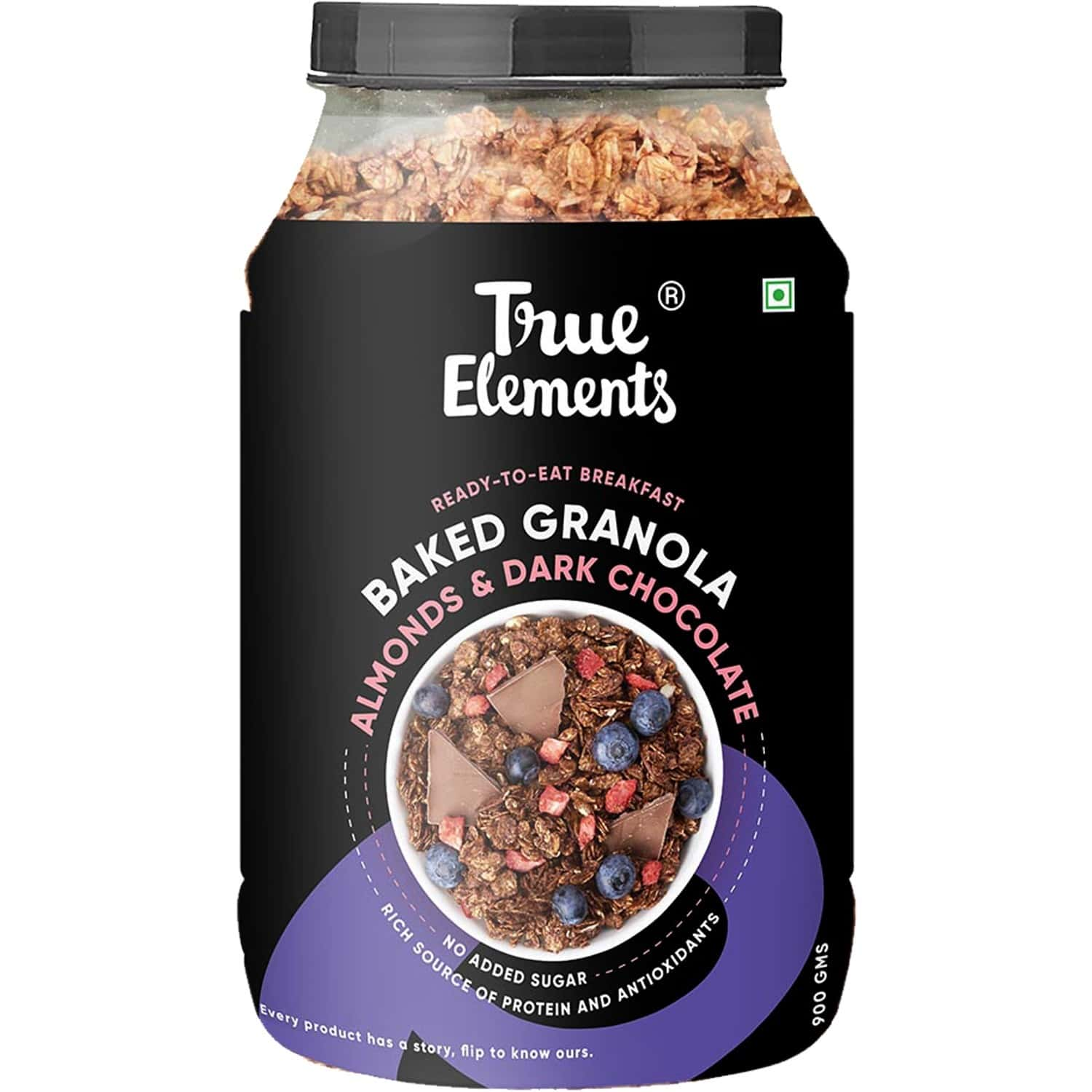 True Elements Baked Granola: Almonds And Dark Chocolate - 900 Gm