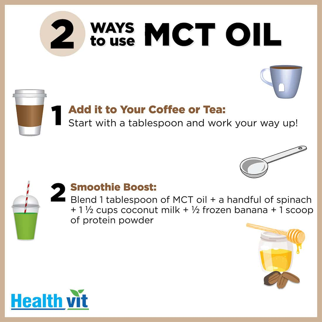 Healthvit  Mct Oil From Coconut Oil Gluten Free Bottle Of 100 Ml