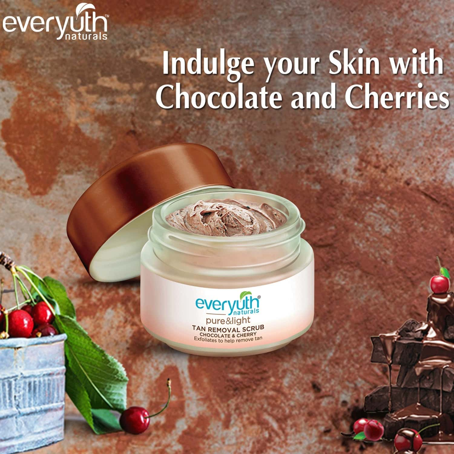 Everyuth Naturals Pure & Light Tan Removal Choco Cherry Face Scrub, 50 G