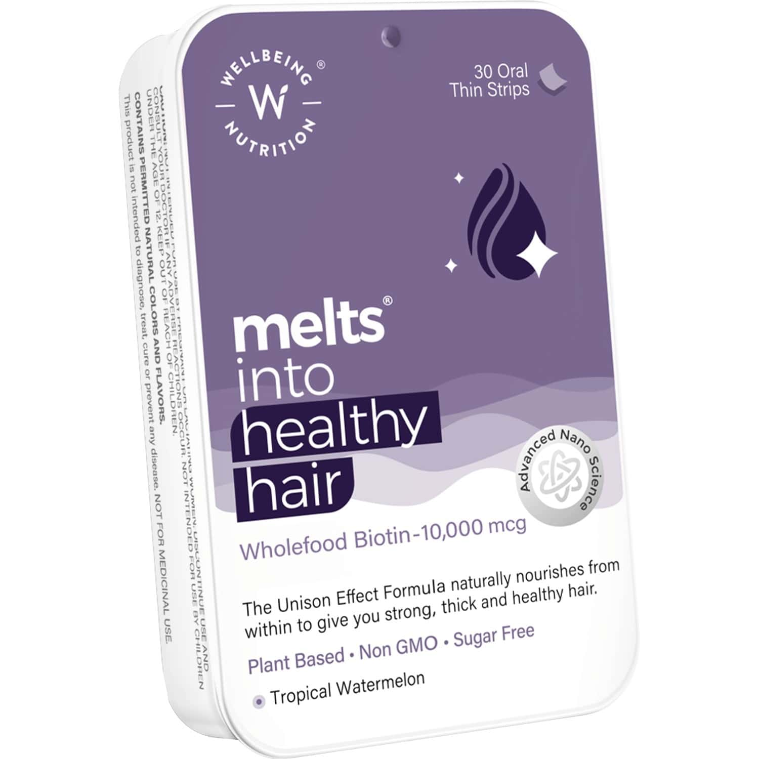 Wellbeing Nutrition Melts Healthy Hair - Plant Based Biotin 10000mcg+ (30 Oral Thin Strips)