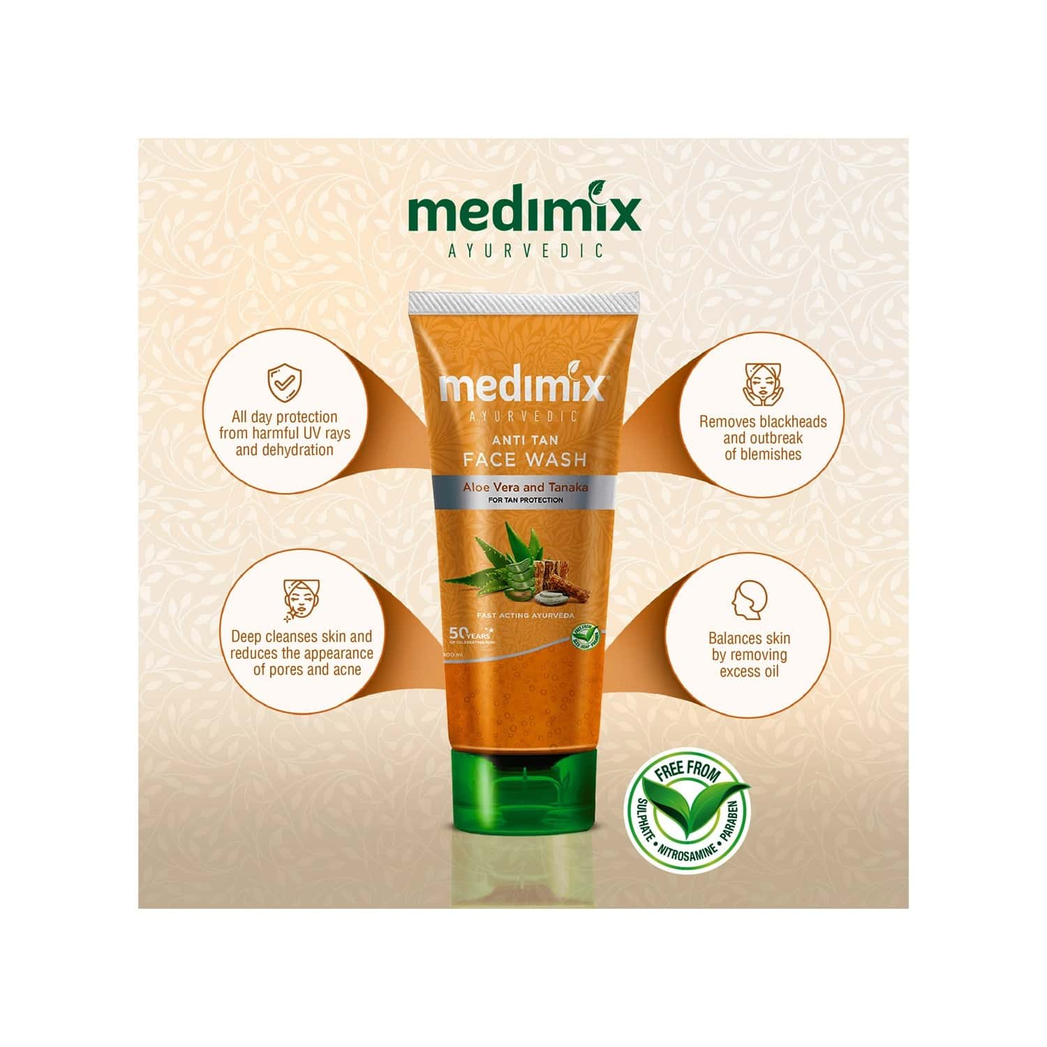 Medimix Ayurvedic Anti Tan Face Wash - 50ml
