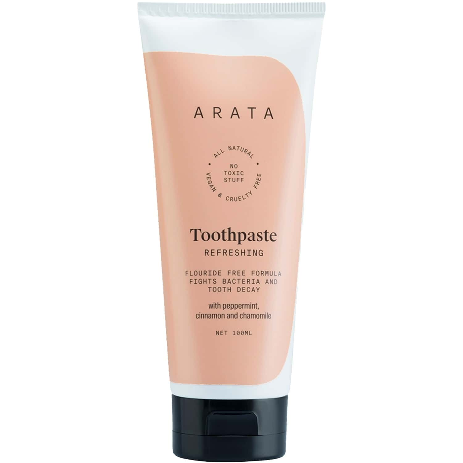 Arata Natural Refreshing Toothpaste With Peppermint, Cinnamon & Chamomile   All-natural, Vegan & Cruelty-free   Fluoride-free Formula Fights Bacteria & Tooth Decay - (100 Ml)