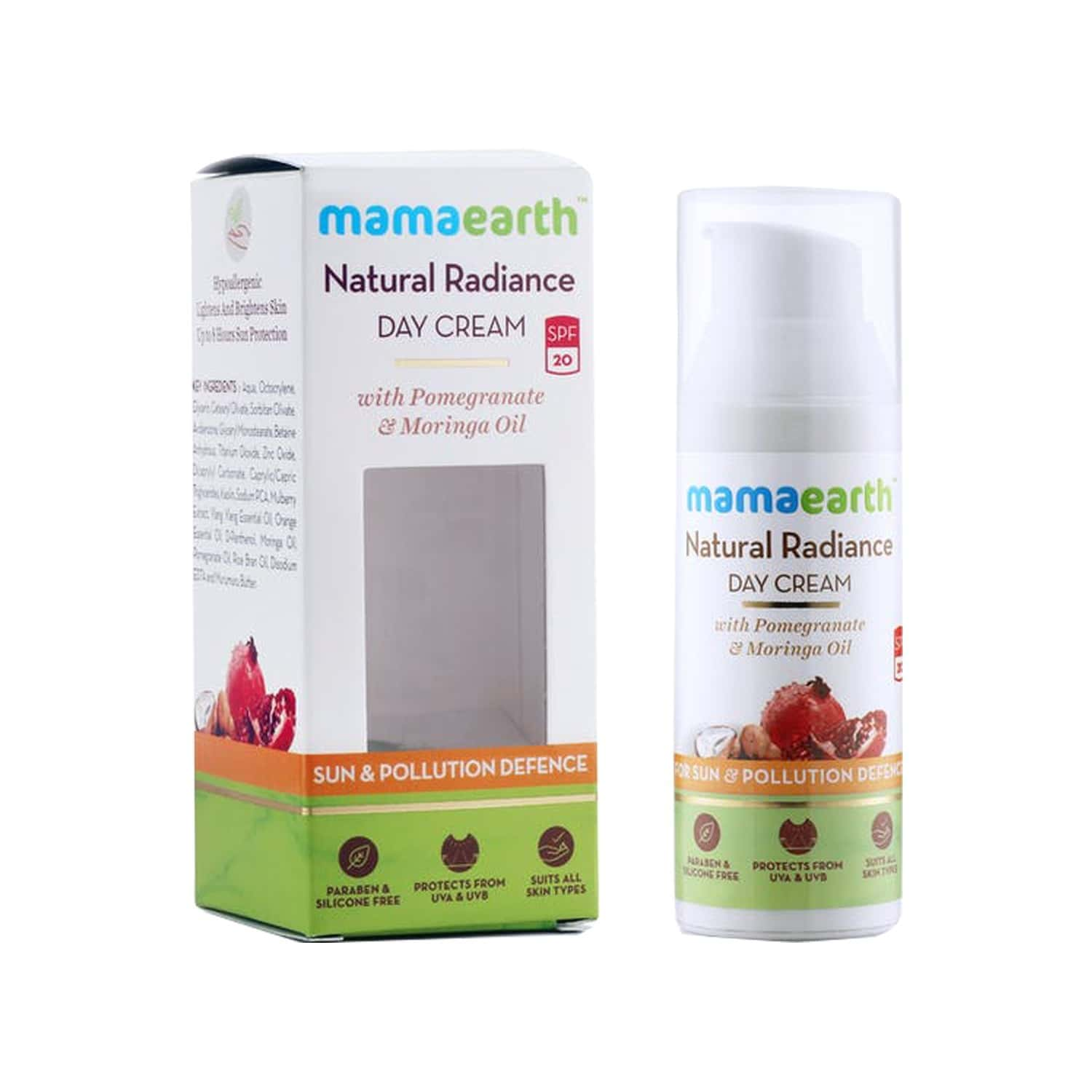 Mamaearth Natural  Radiance Day Cream - 50ml And Overnight Repair Face Cream - 50ml   Of
