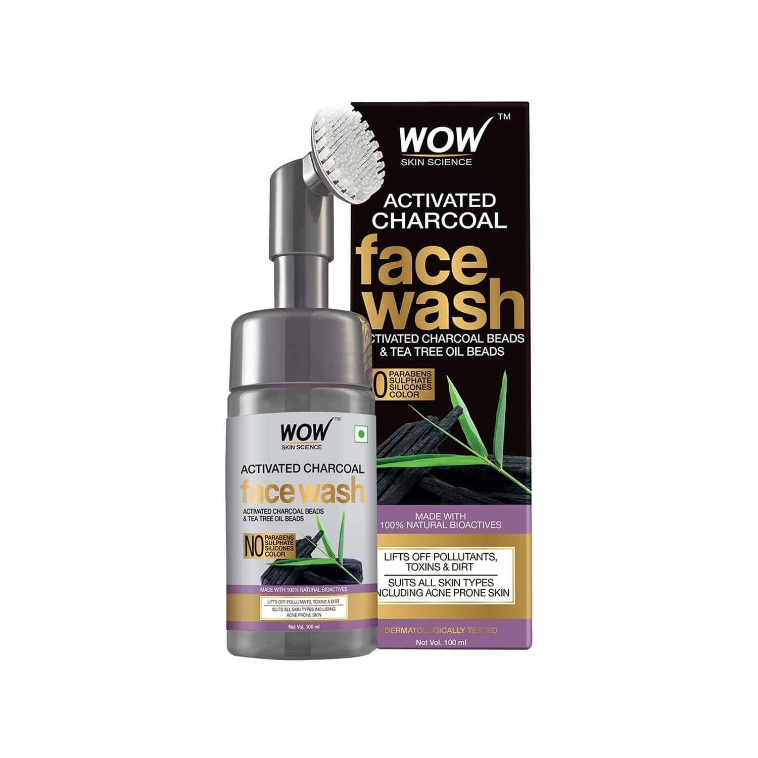 Wow Skin Science Charcoal Foaming Face Wash With Built-in Face Brush - 100 Ml