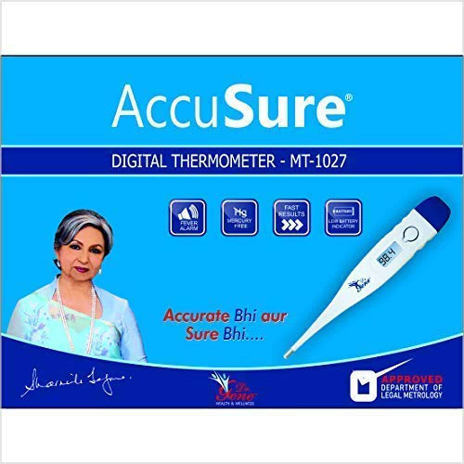 Accusure Digital Thermometers Mt 1027 Hard Tip (white)