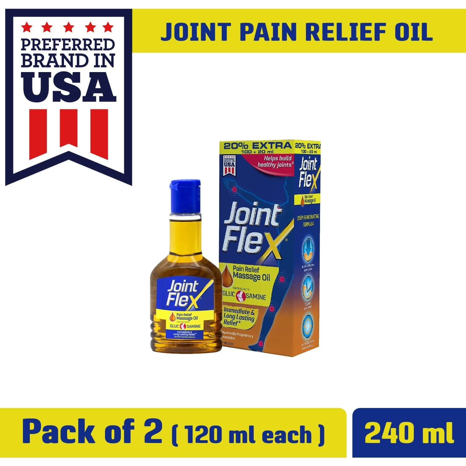 Jointflex Pain Relief Massage Oil, 120 Ml (100ml + 20ml Free) (pack Of 2) - Immediate & Long-lasting Pain Relief And Healthy Joints