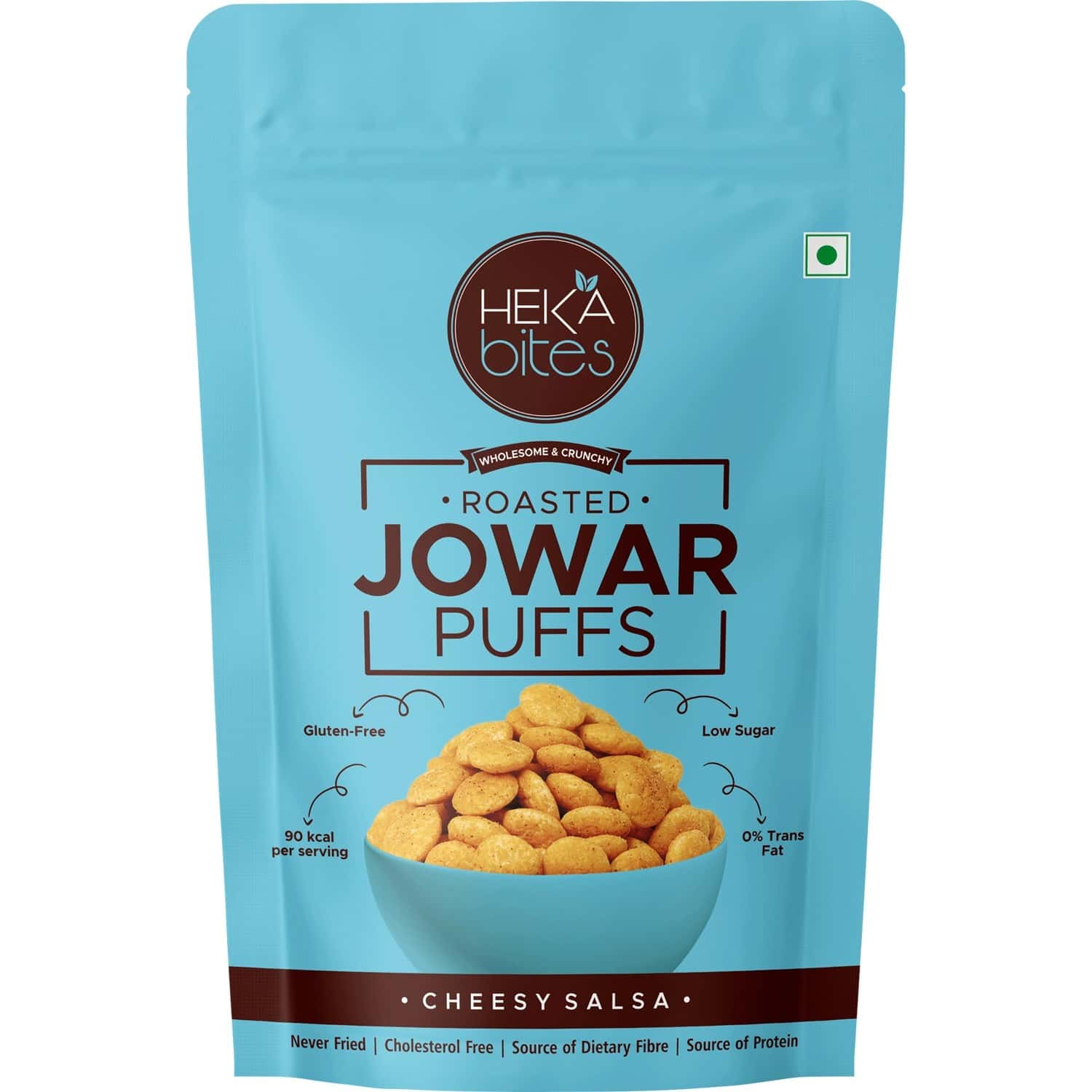 Heka Bites Roasted Jowar Puffs Cheesy Salsa - Pack Of 1 X40g |low Calorie & Healthy Snacks