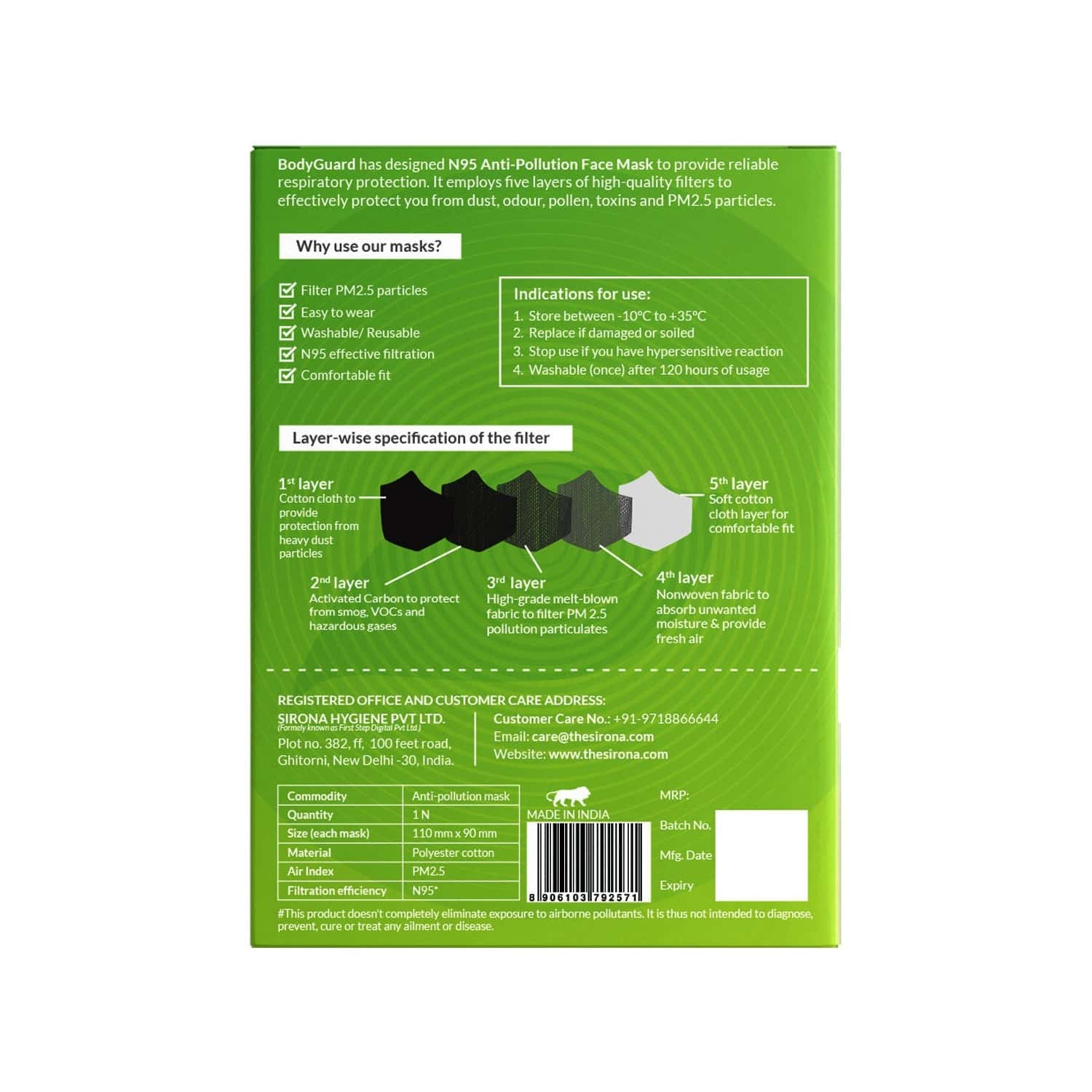 Bodyguard N95 + Pm2.5 Anti Pollution Face Mask With Valve And Activated Carbon - Small