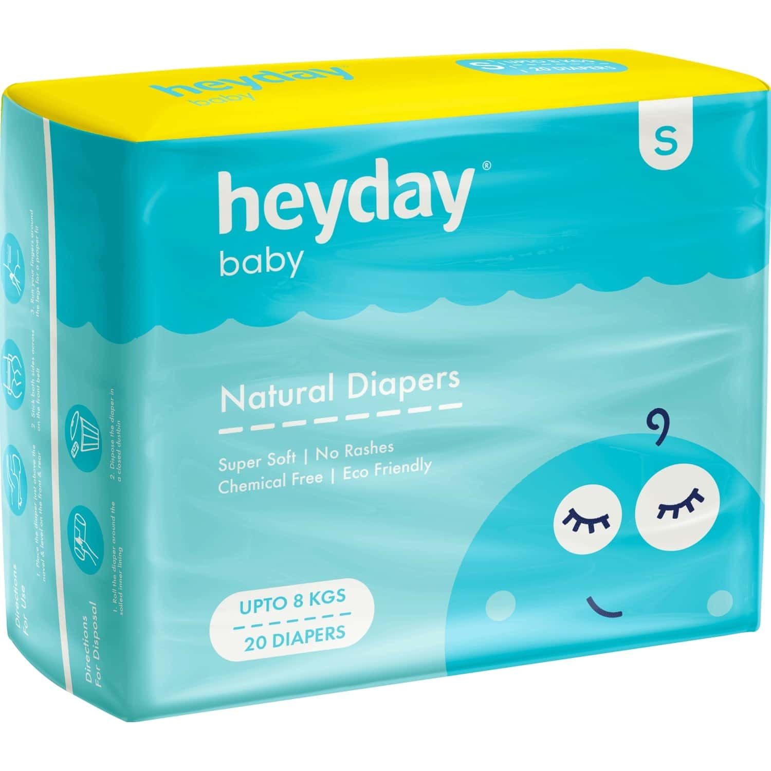 Heyday Natural & Organic Small Baby Diapers (20 Diapers | Upto 8 Kg)