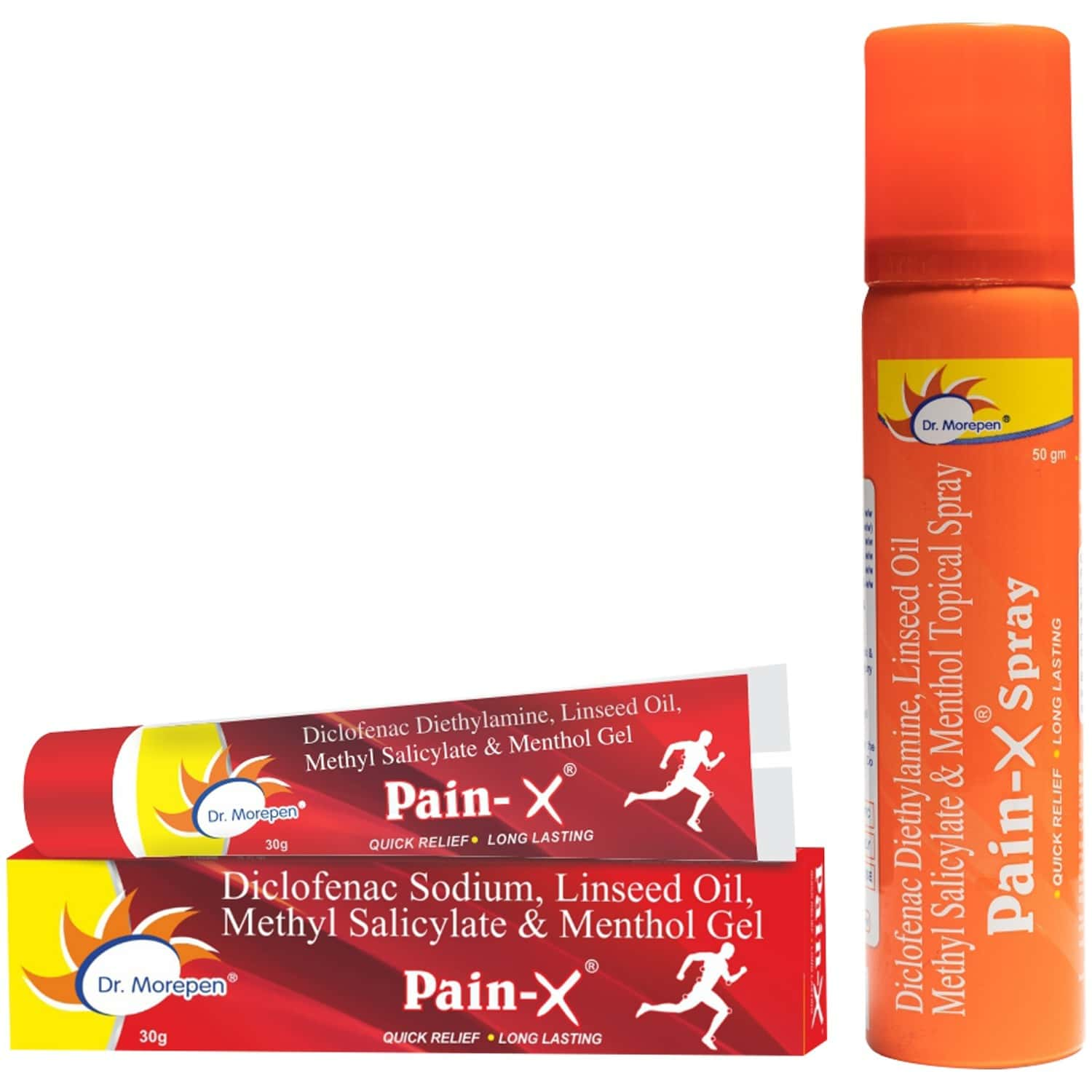 Dr. Morepen Body Pain Relief Combo - Pain-x Spray 50g & Pain-x Gel 30g