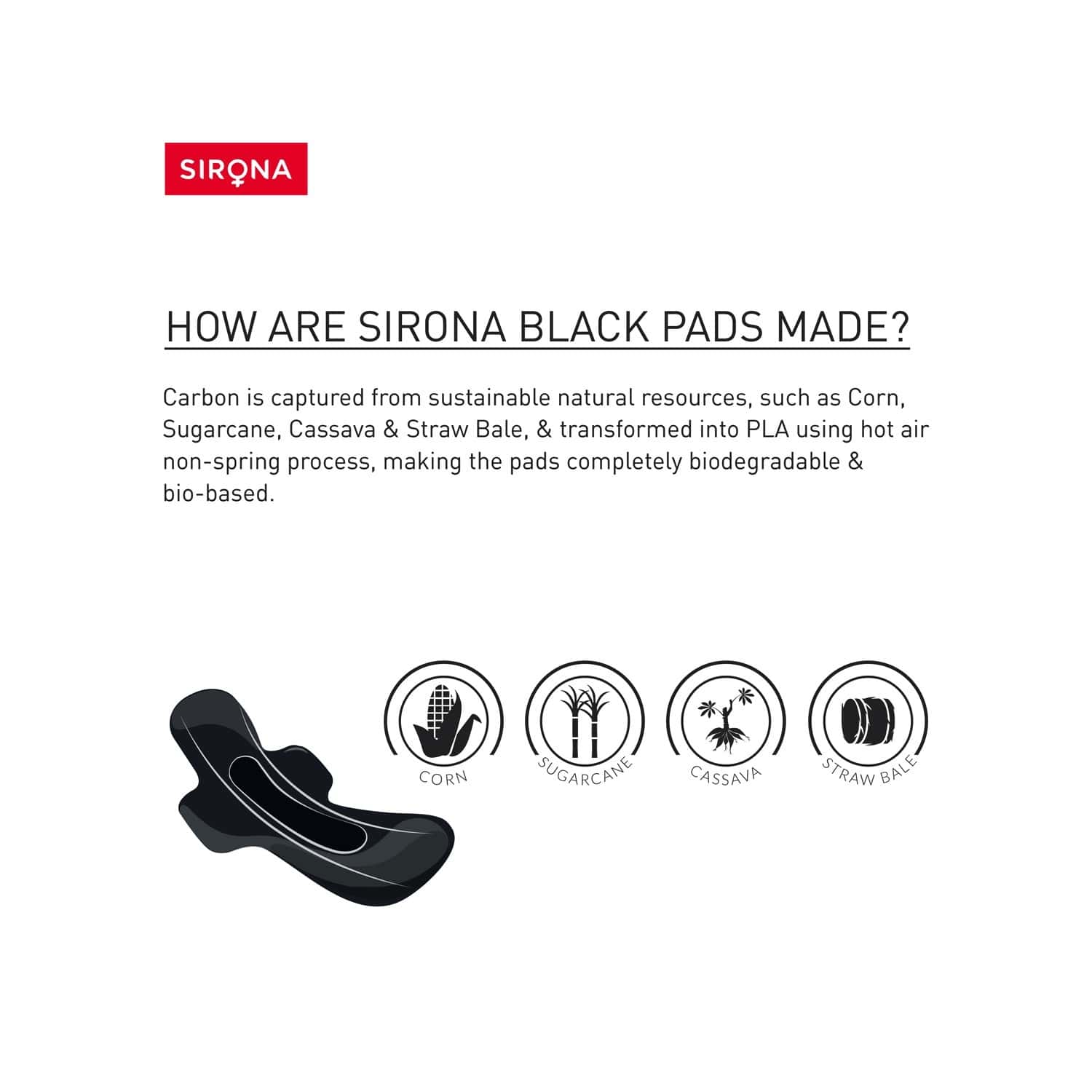Sirona Biodegradable Super Soft Black Sanitary Pads/napkins, Antibacterial, Ultra Thin And Rash Free Protection - Large (l) Night Pads (pack Of 10)
