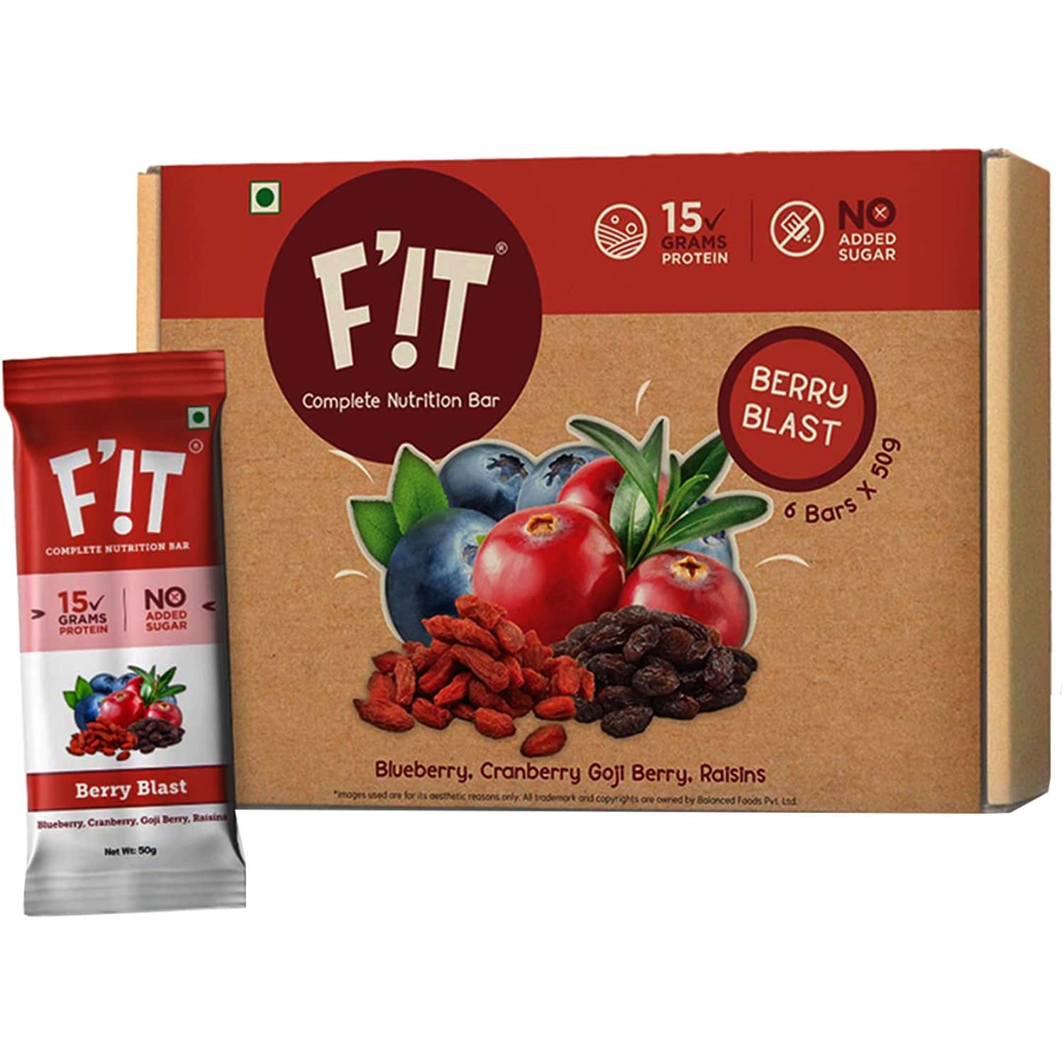 F'it Nutrition Bar - Berry Blast (pack Of 6)