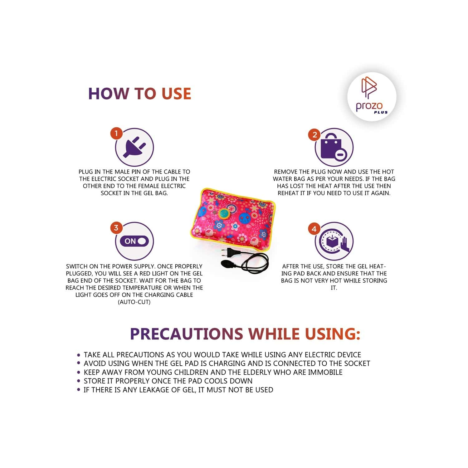 Prozo Plus Electric Heating Gel Pad Bag With An Auto-cut Feature (multicolour)