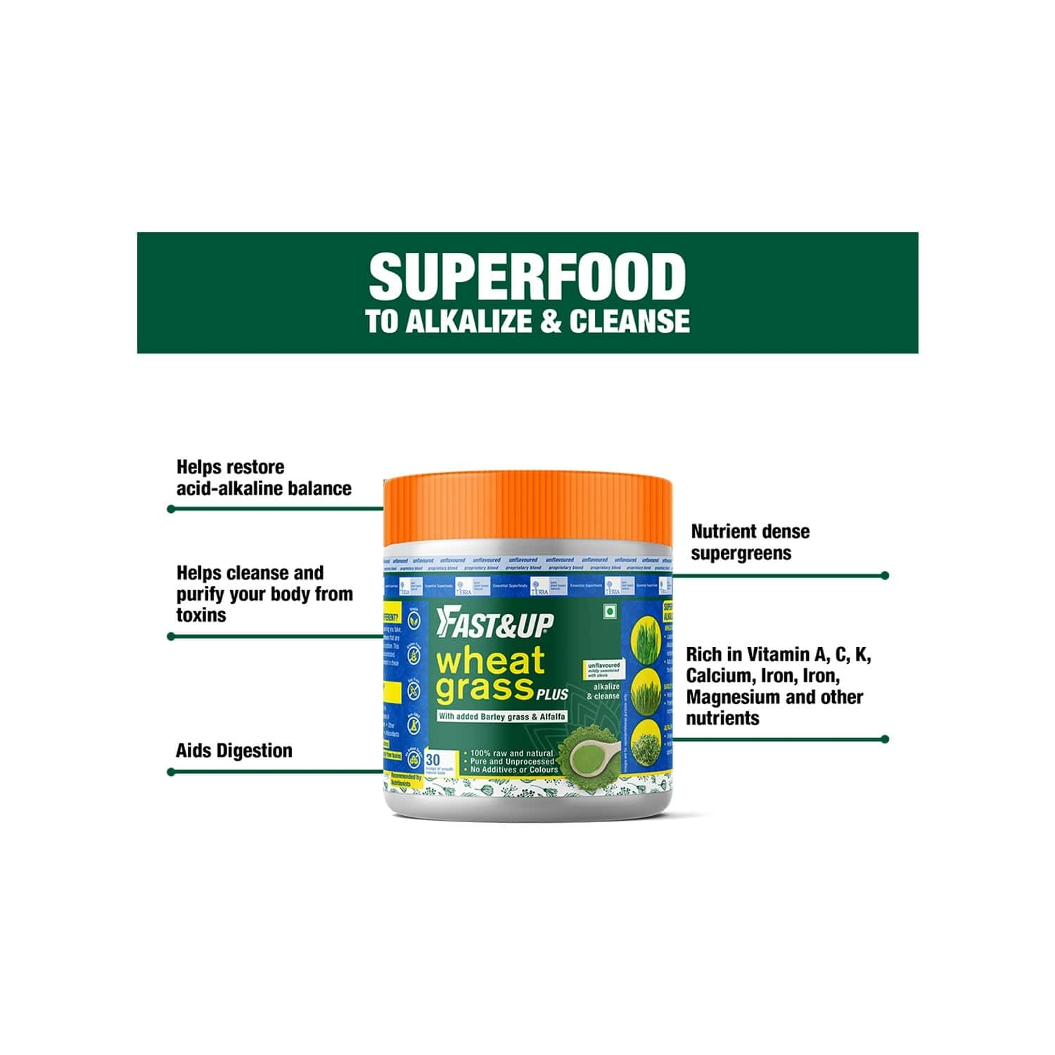 Fast&up Wheatgrass For Body Purifying And Cleansing - 150 G