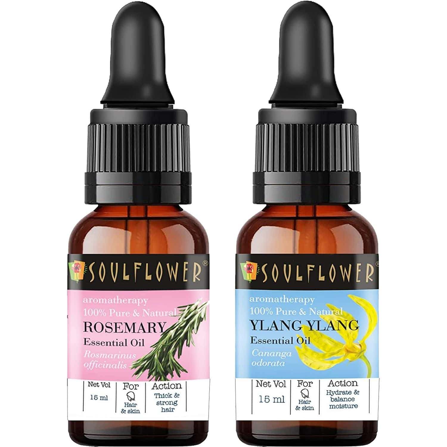 Soulflower Essential Oil Rosemary (15ml) And Ylang Ylang 100% Pure Natural And Undiluted Oil (15ml) For Skin, Face And Hair With Free Dropper