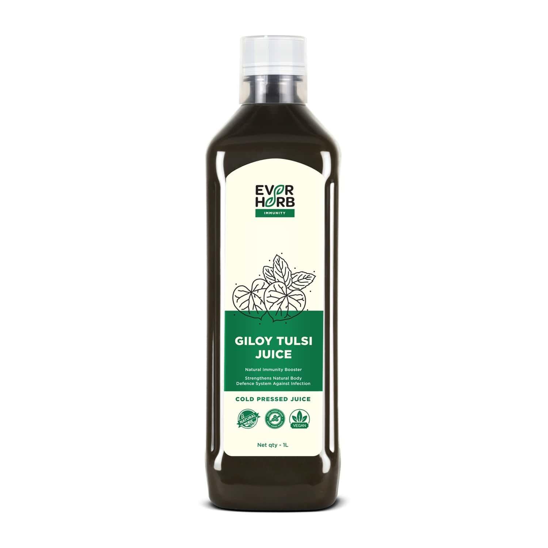 Everherb Giloy Tulsi Juice - Strengthens Body Defence System - Natural Immunity Booster-1000ml Bottle