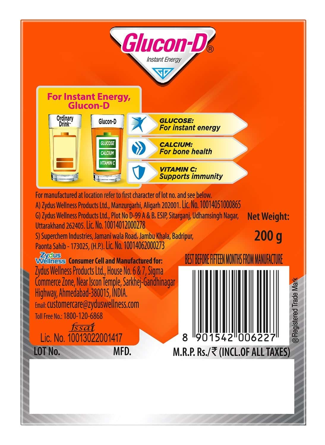 Glucon-d Tangy Orange Health Drink Refill Of 200 G