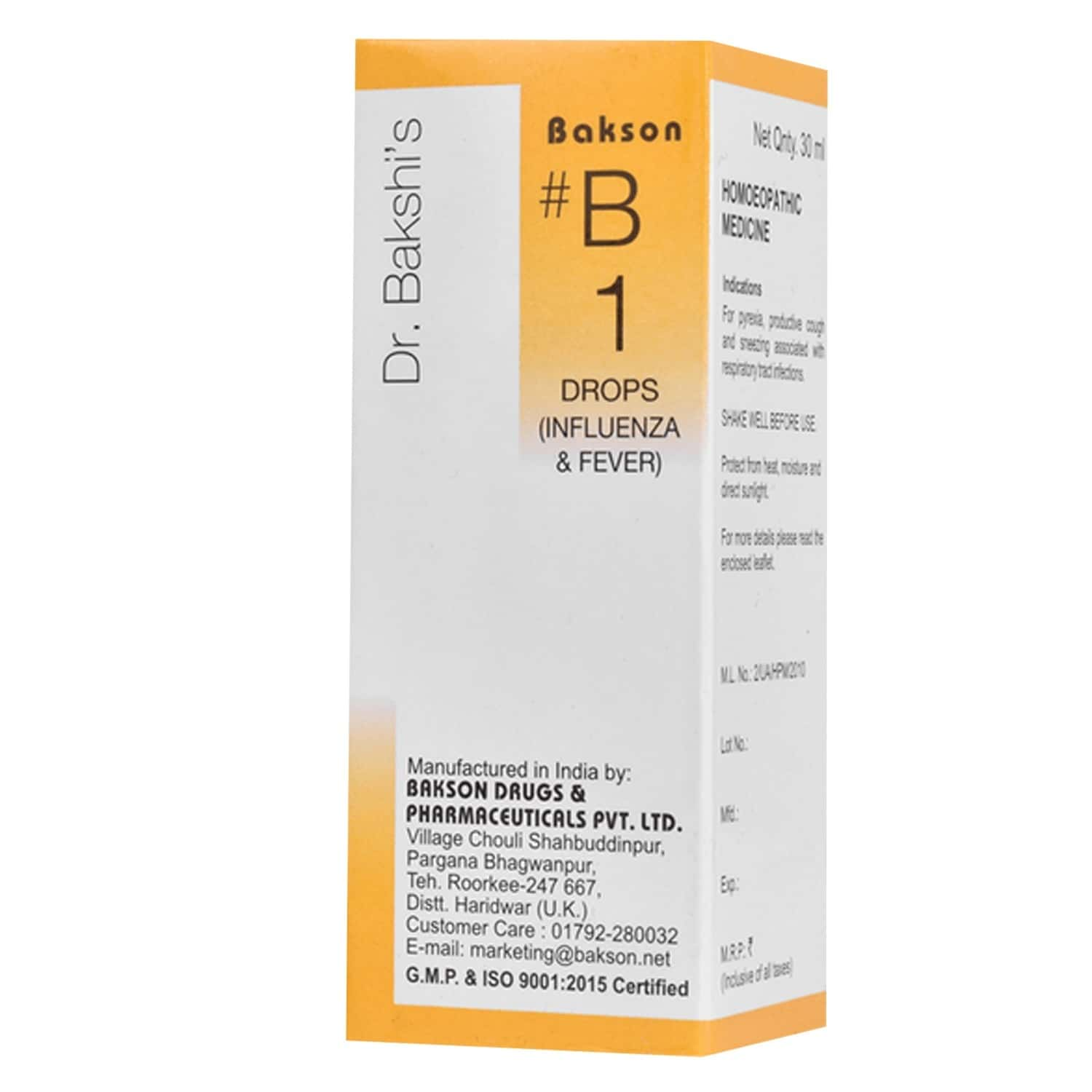 Baksons B1 Drop For Influenza And Fever 30 Ml