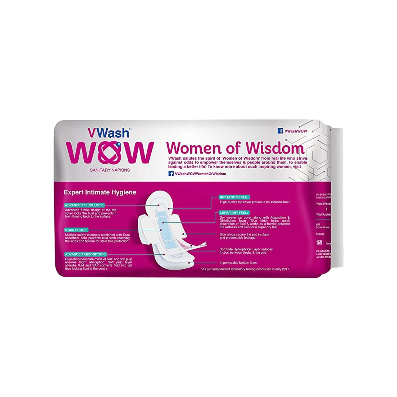 Vwash Wow Maxi Size L Sanitary Pads Pack Of 48 (packs Of 3x16)