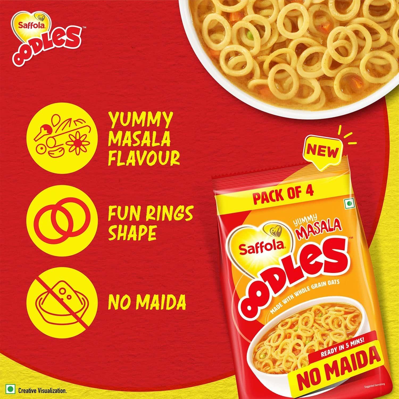 Saffola Oodles, Ring Noodles, Yummy Masala Flavour, No Maida - 184 Gm